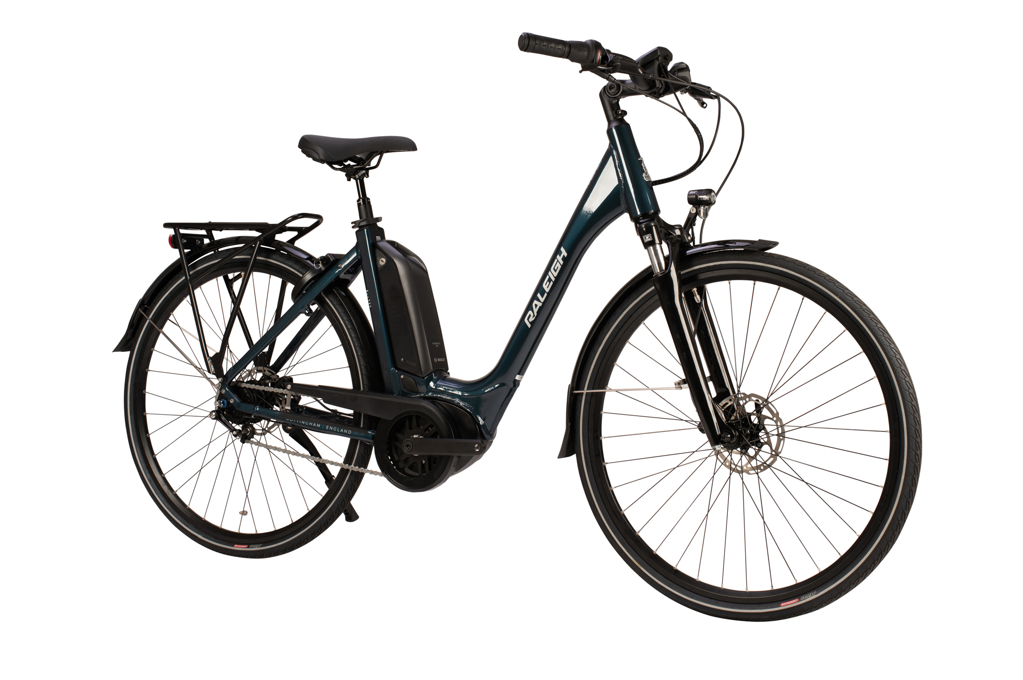 Front view of the Raleigh Motus Grand Tour electric bike