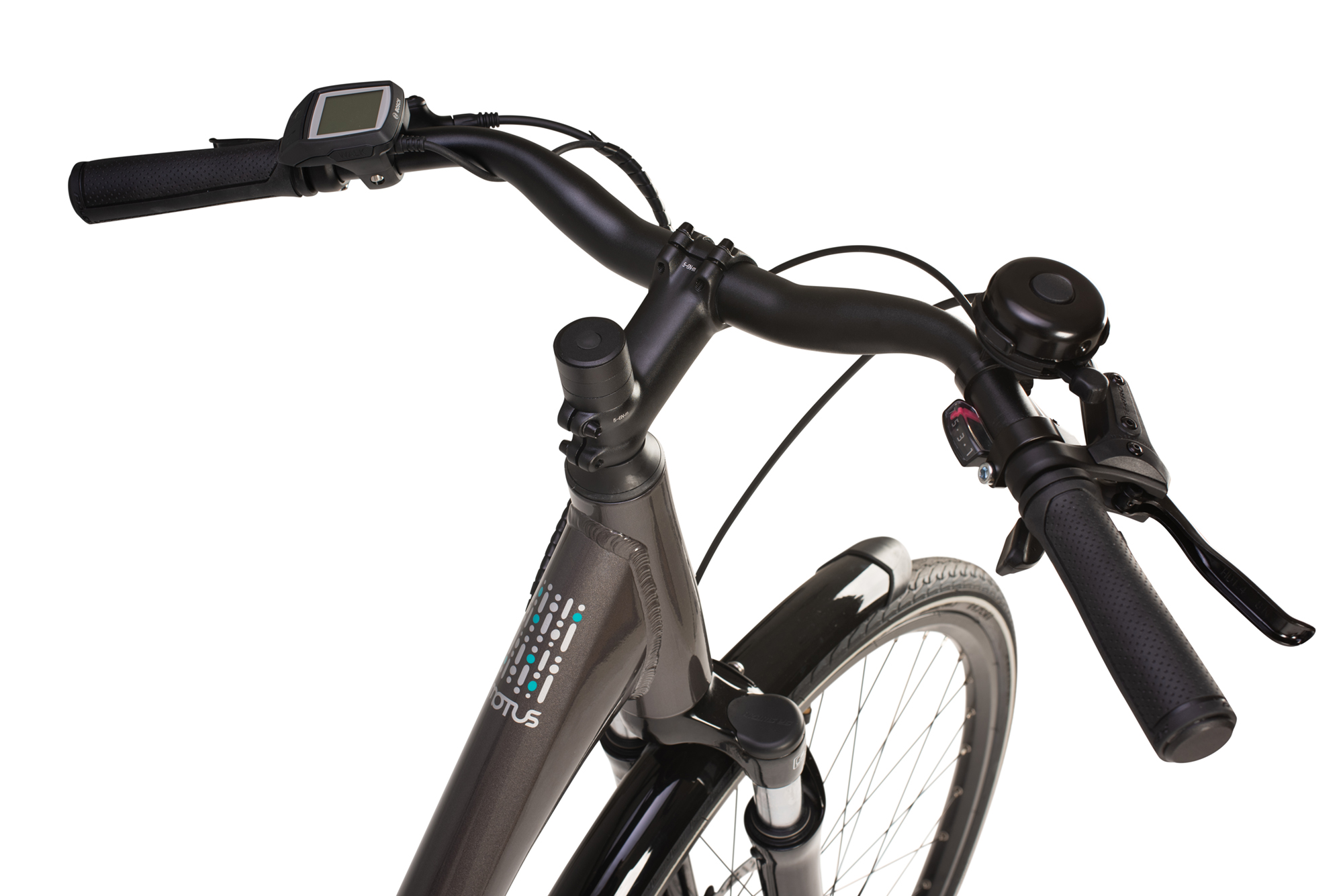 Handlebars on the Raleigh Motus Low Step electric bike in grey colour