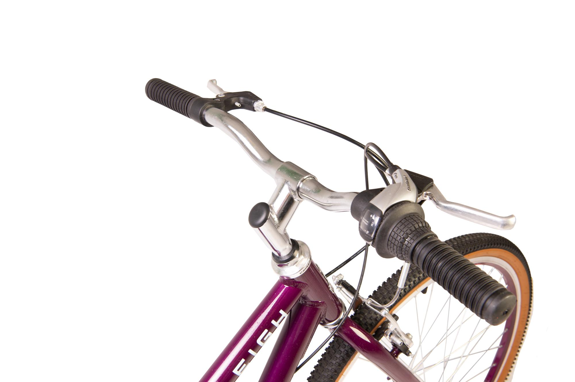 Handlebars on the Raleigh Pop 26 inch kids bike in colour purple