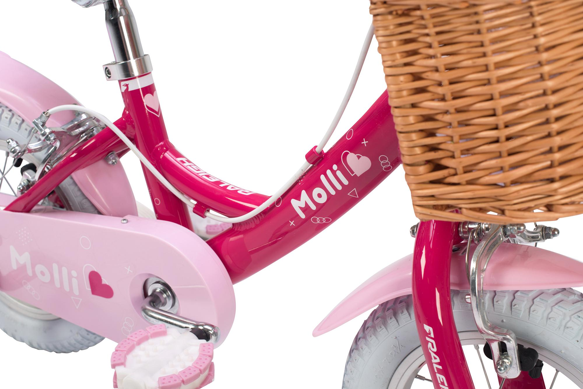 view of frame on the Raleigh Molli 12 inch kids girls bike with stabilisers