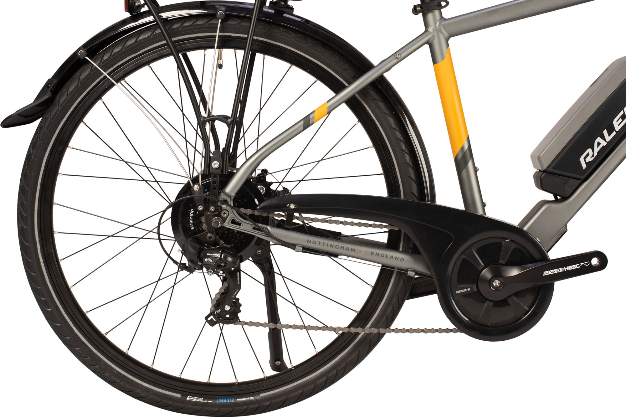 Rear wheel and drivetrain on the Raleigh Array electric bike
