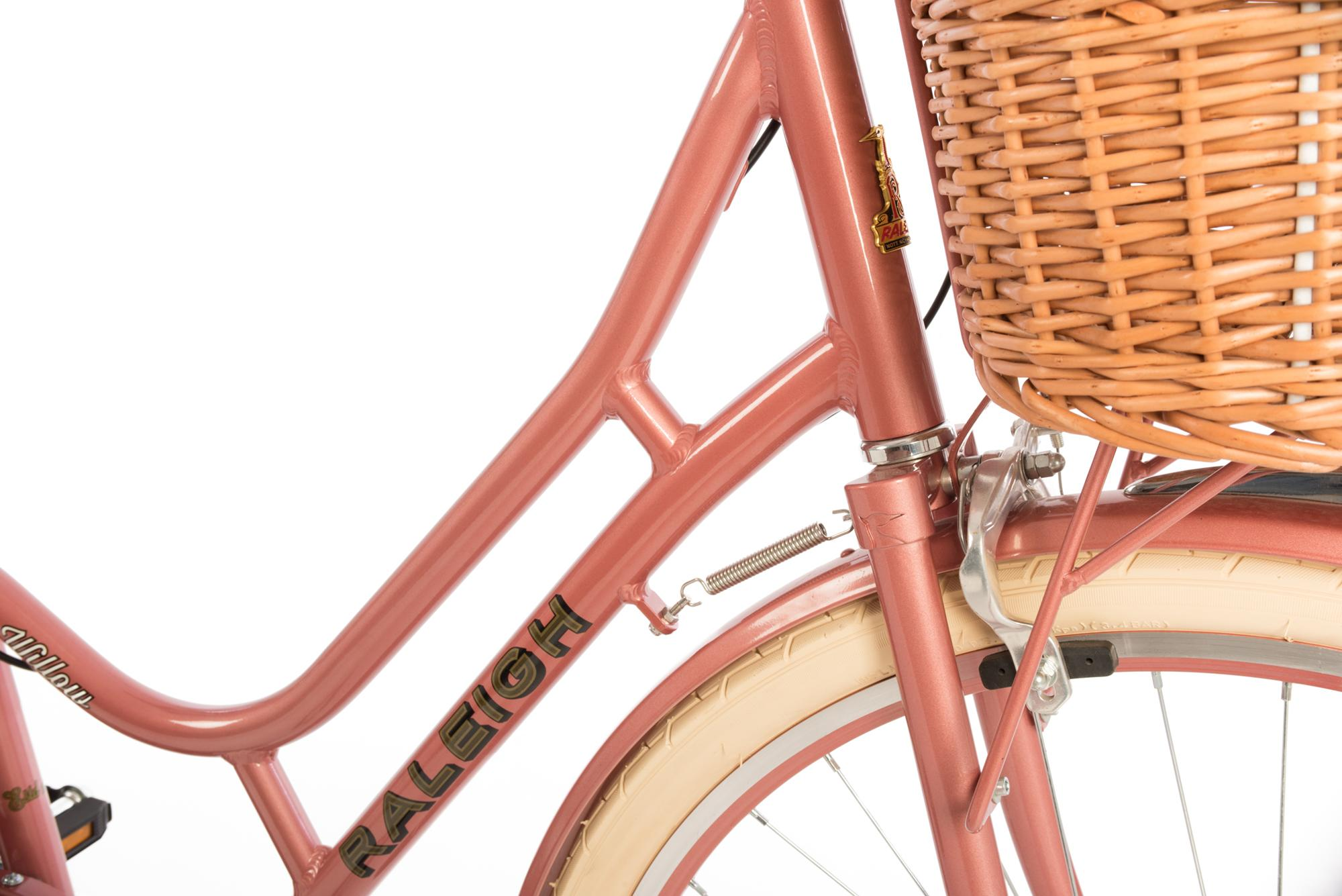 Detail of front brakes on the Raleigh Willow classic ladies bike in pink colour pink