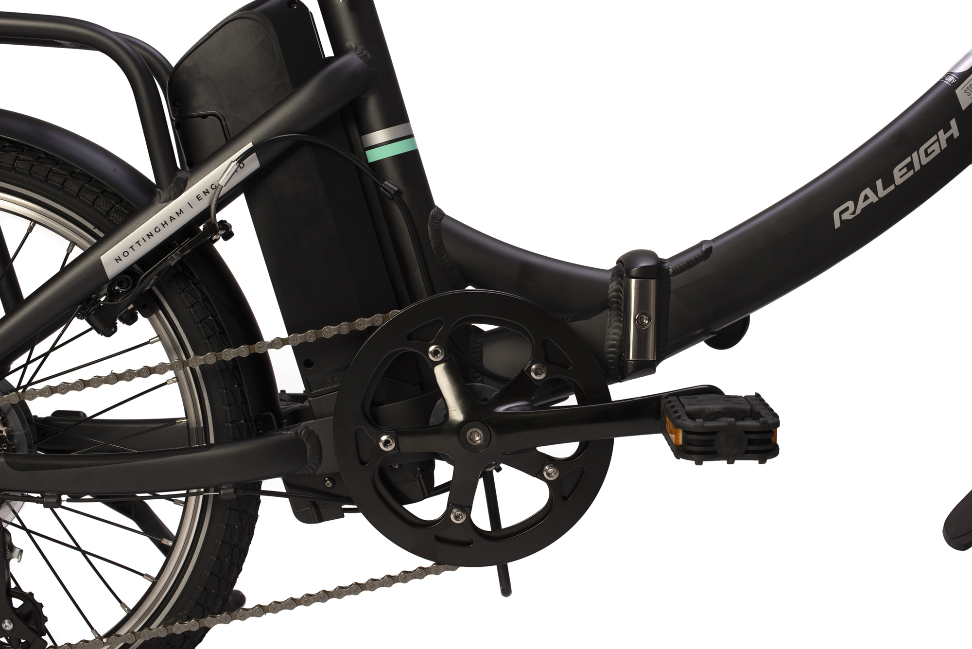 Drivetrain on the Raleigh Stow-E-way folding electric bike