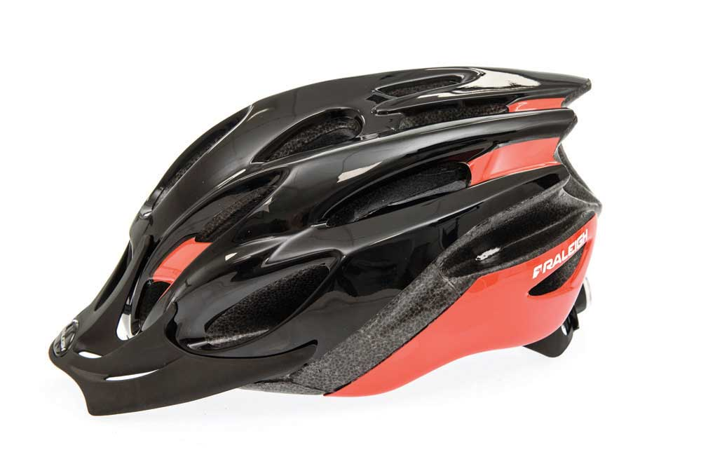 Raleigh Mission Evo bike helmet in black and red