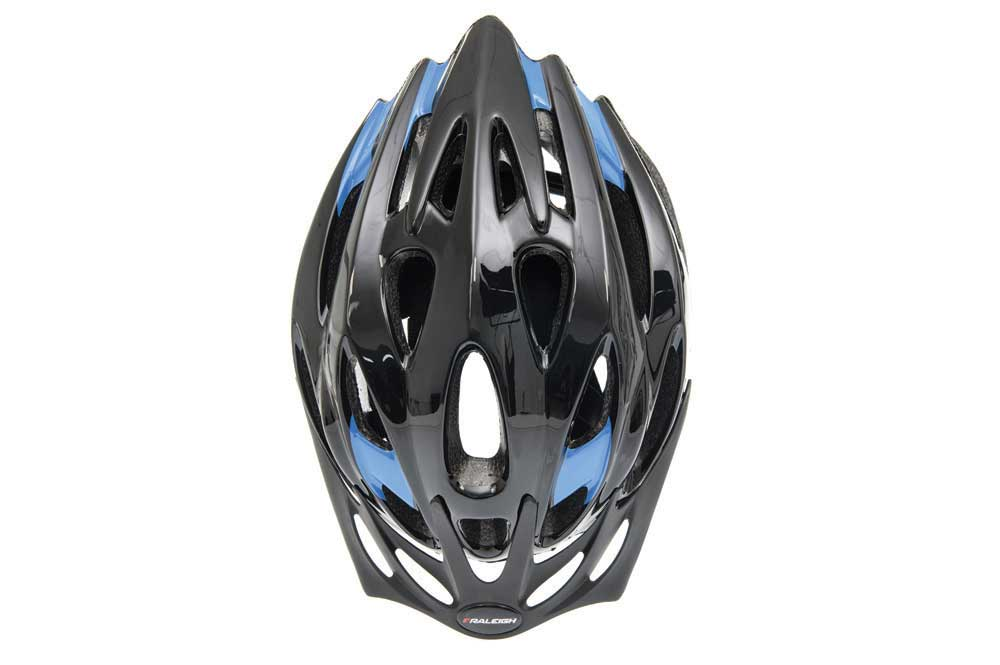 Top view of the Raleigh Mission Evo bike helmet in black and blue