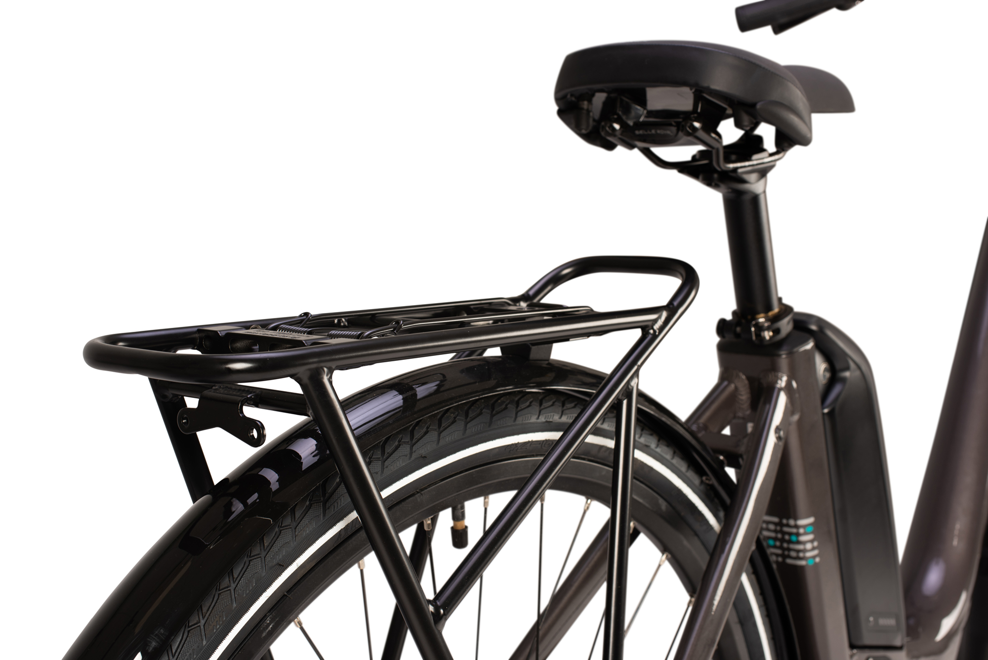 Rack on the Raleigh Motus Low Step electric bike in grey colour