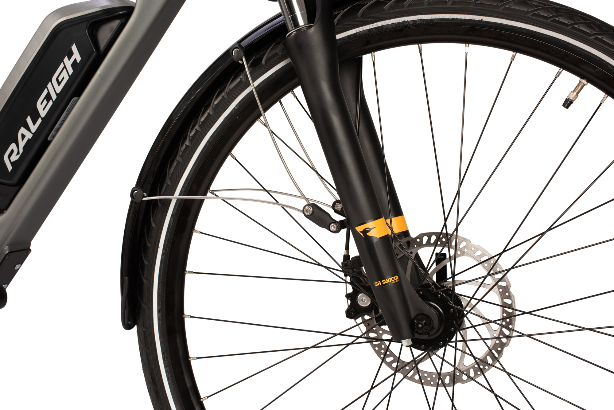 Front suspension forks and disc brakes on the Raleigh Array electric bike