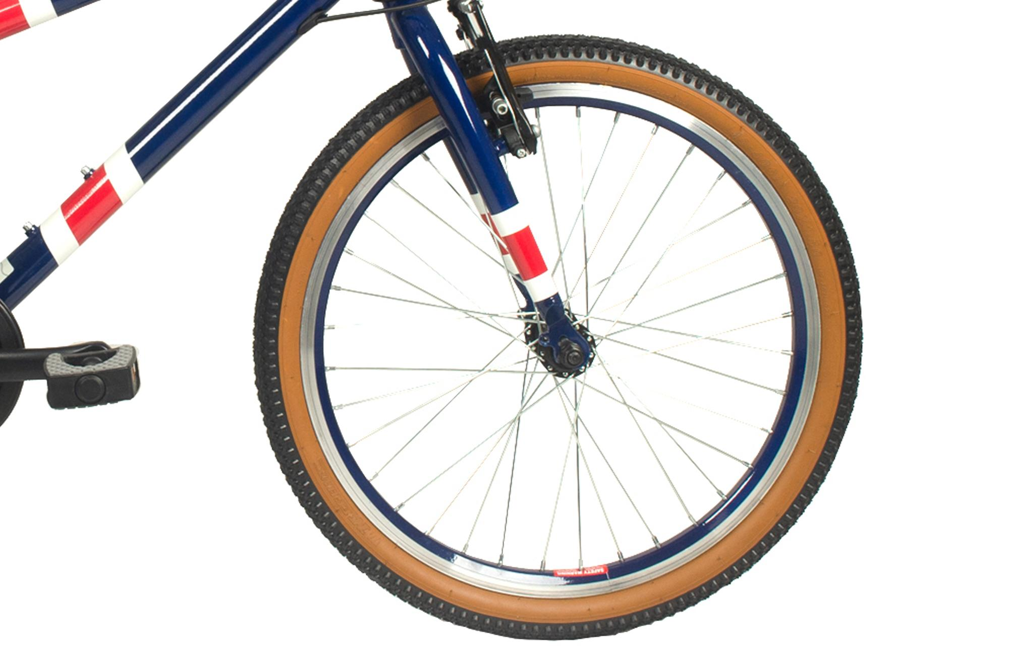 Front wheel on Raleigh Pop 20 inch  kids bike in blue colour