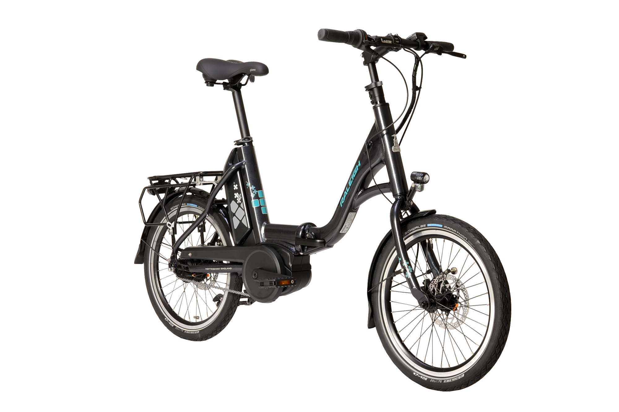 Front view of the Raleigh Kompact electric folding bike