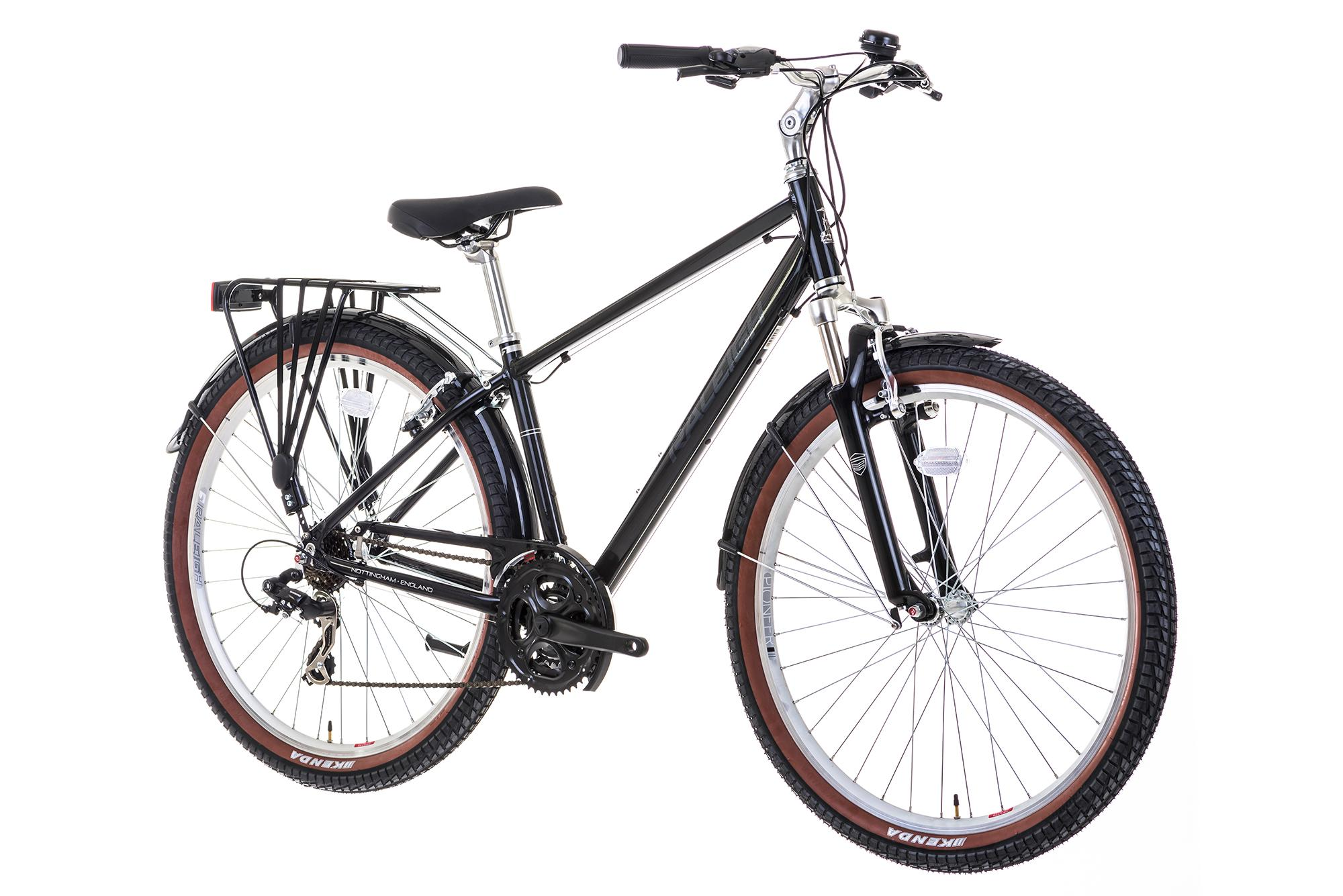 Front view of the Raleigh Pioneer Trail crossbar bike in black