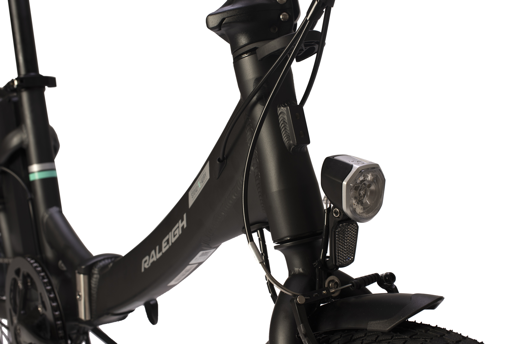 Front tube with mounted light on the Raleigh Stow-E-way folding electric bike