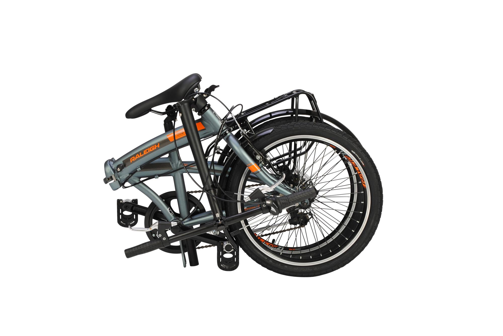 Folded Raleigh Stowaway folding bike