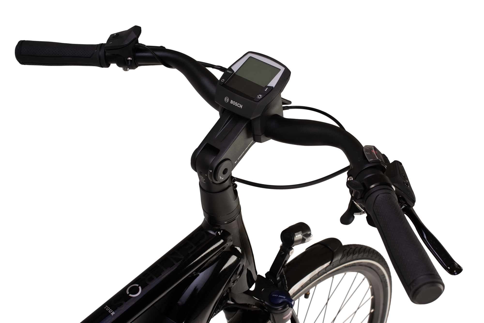 Handlebars and controller on the Raleigh Centros Tour electric bike