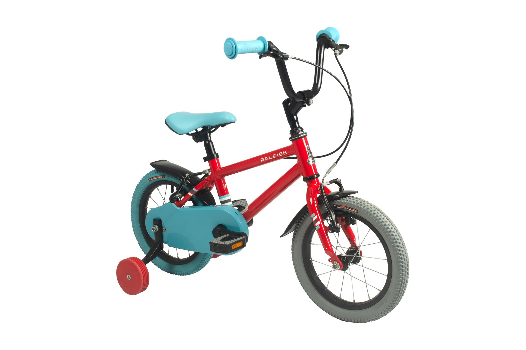 Front view of the Raleigh Pop 14 inch kids bike with stabilisers in red