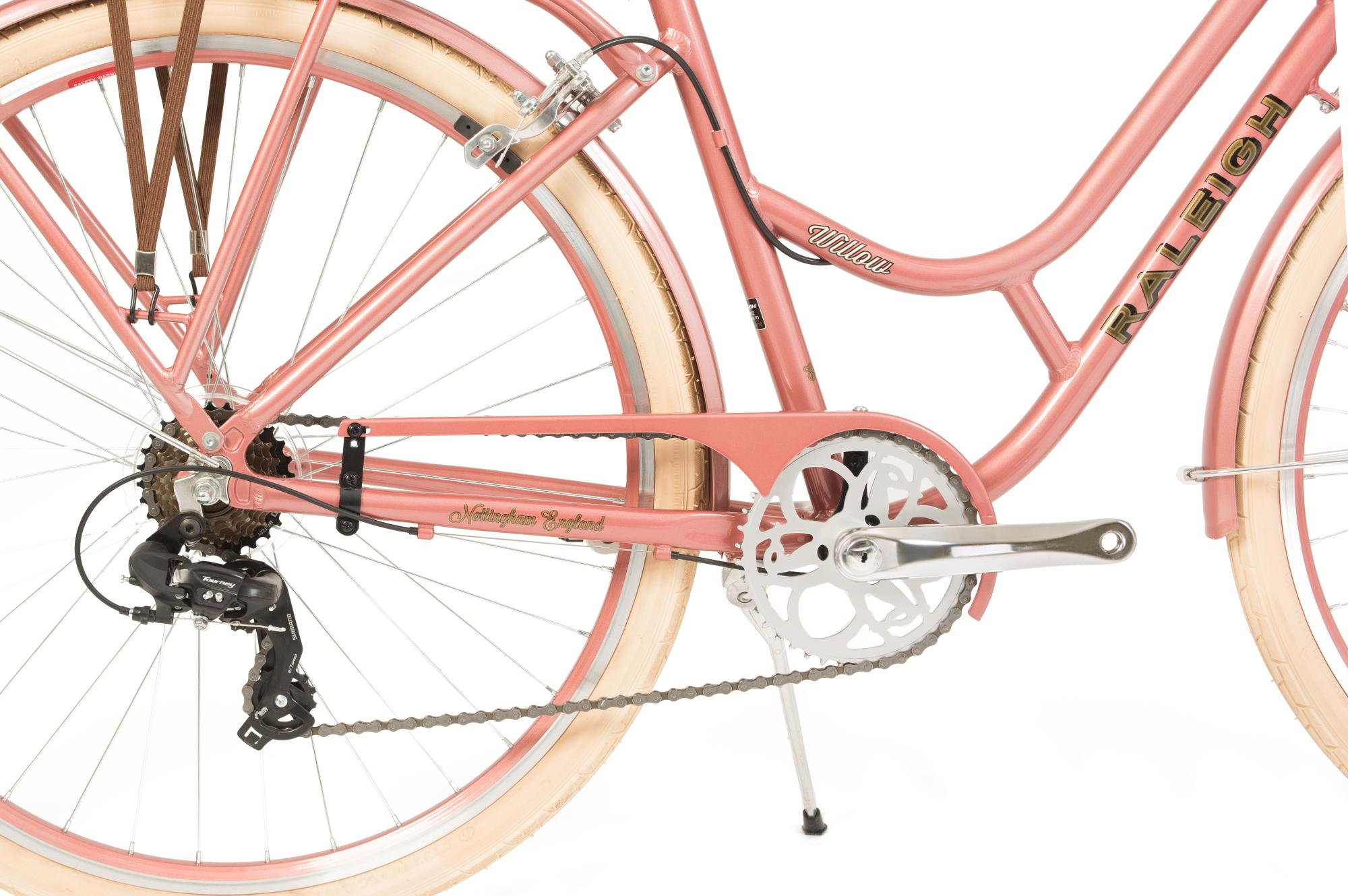Chain guard and derailleur on the Raleigh Willow classic low step ladies bike in colour pink