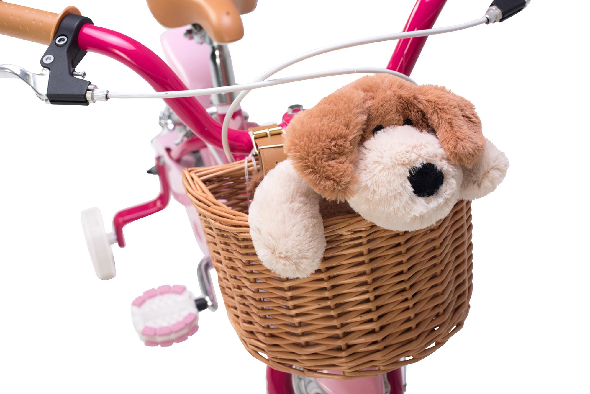view of the basket on the Raleigh Molli 12 inch kids girls bike with stabilisers