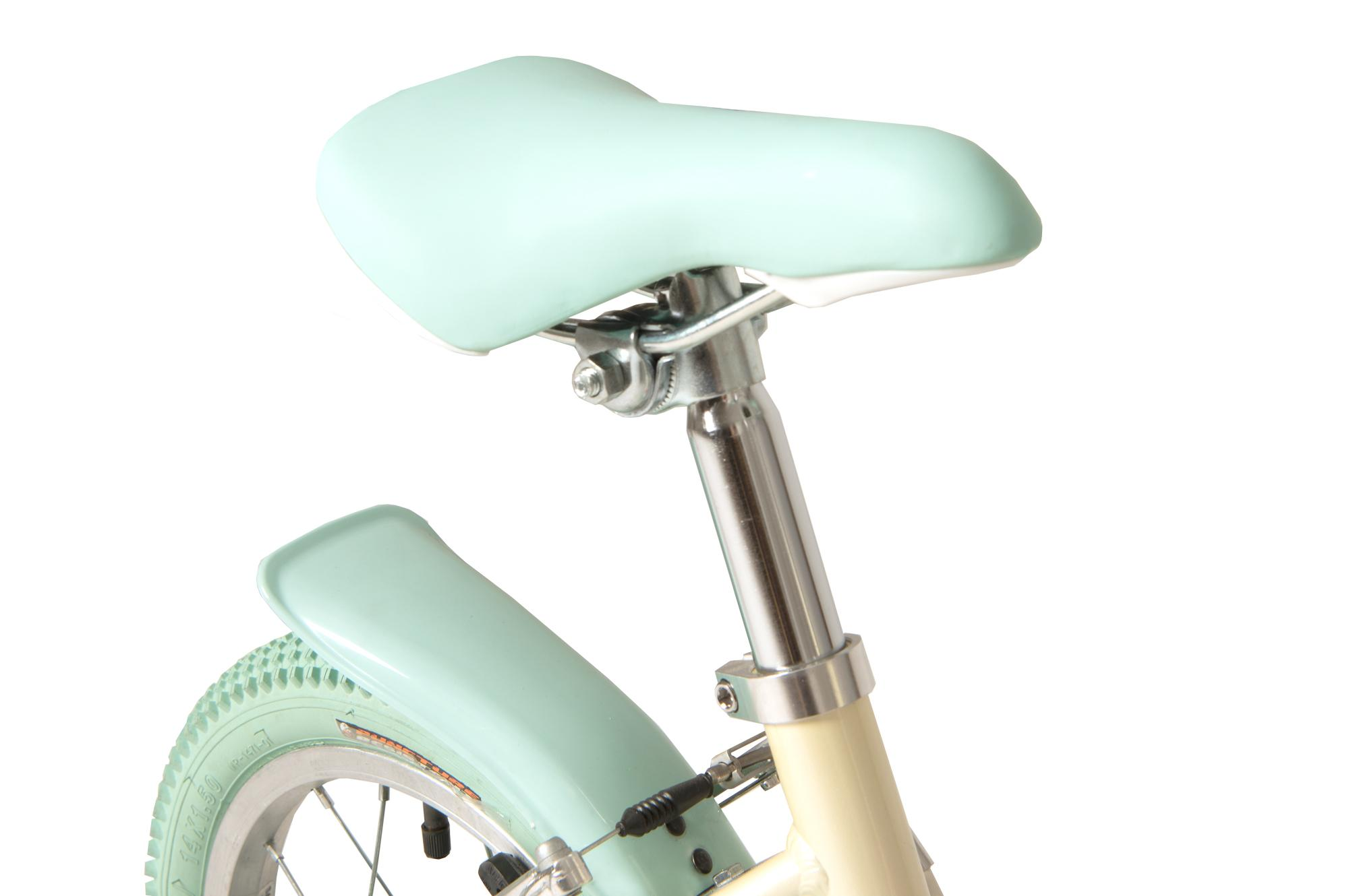 Seat on the Raleigh Pop 14 inch kids bike for girls in colour white