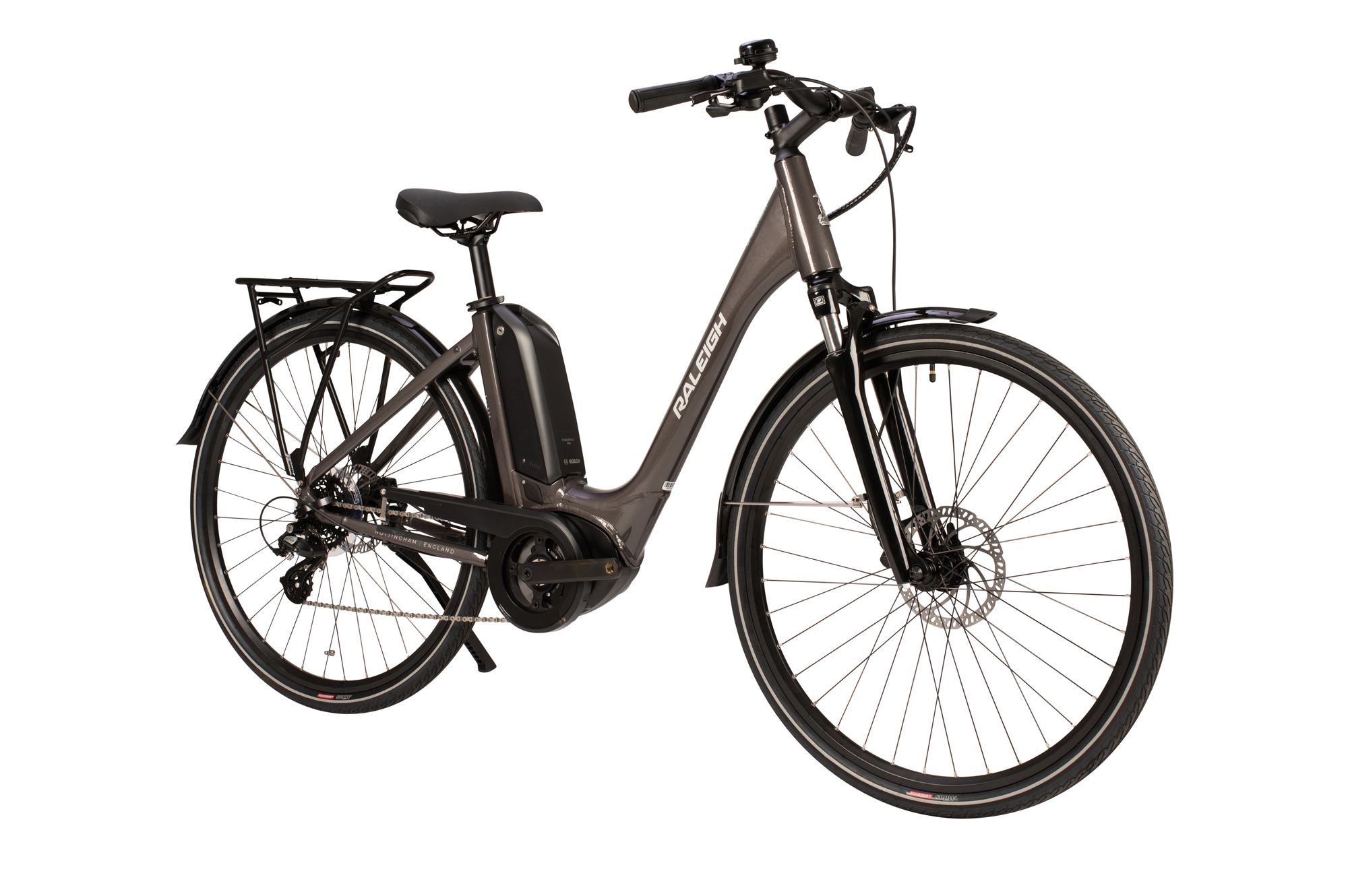 Side view of the Raleigh Motus Low Step electric bike in grey