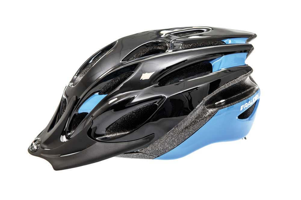 Raleigh Mission Evo bike helmet in black and blue