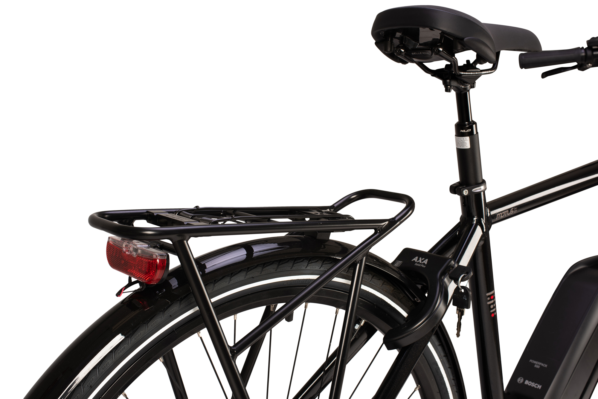 Rear luggage rack on the Raleigh Motus Grand Tour electric bike