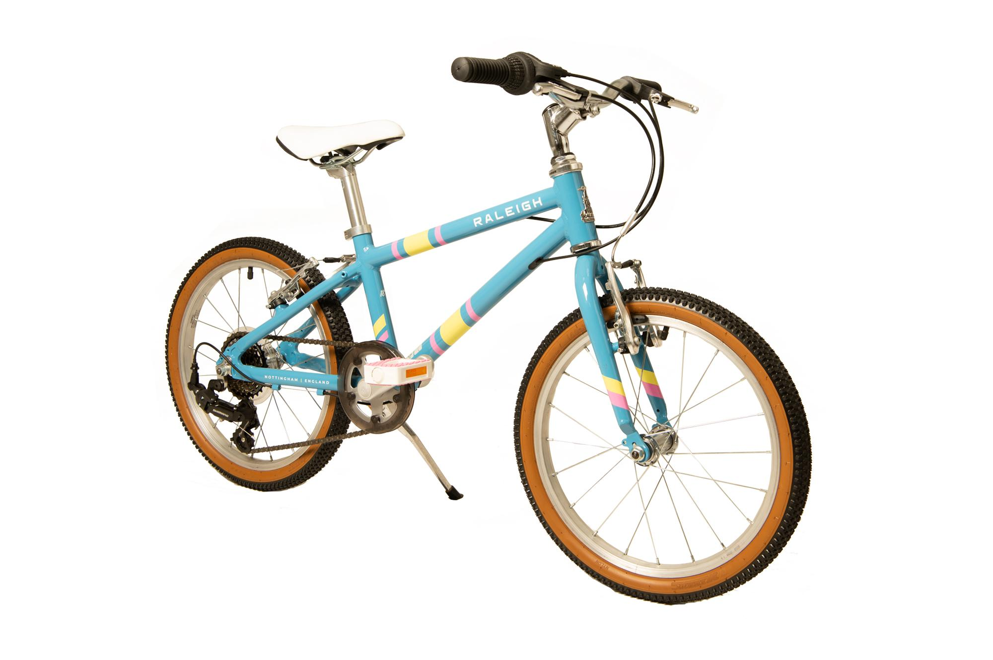 Front view of the Raleigh Pop 18 inch kids bike in light blue colour