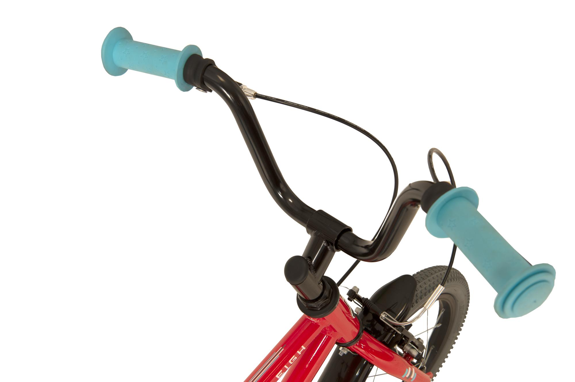 Handlebars on the Raleigh Pop 14 inch kids bike with stabilisers in red