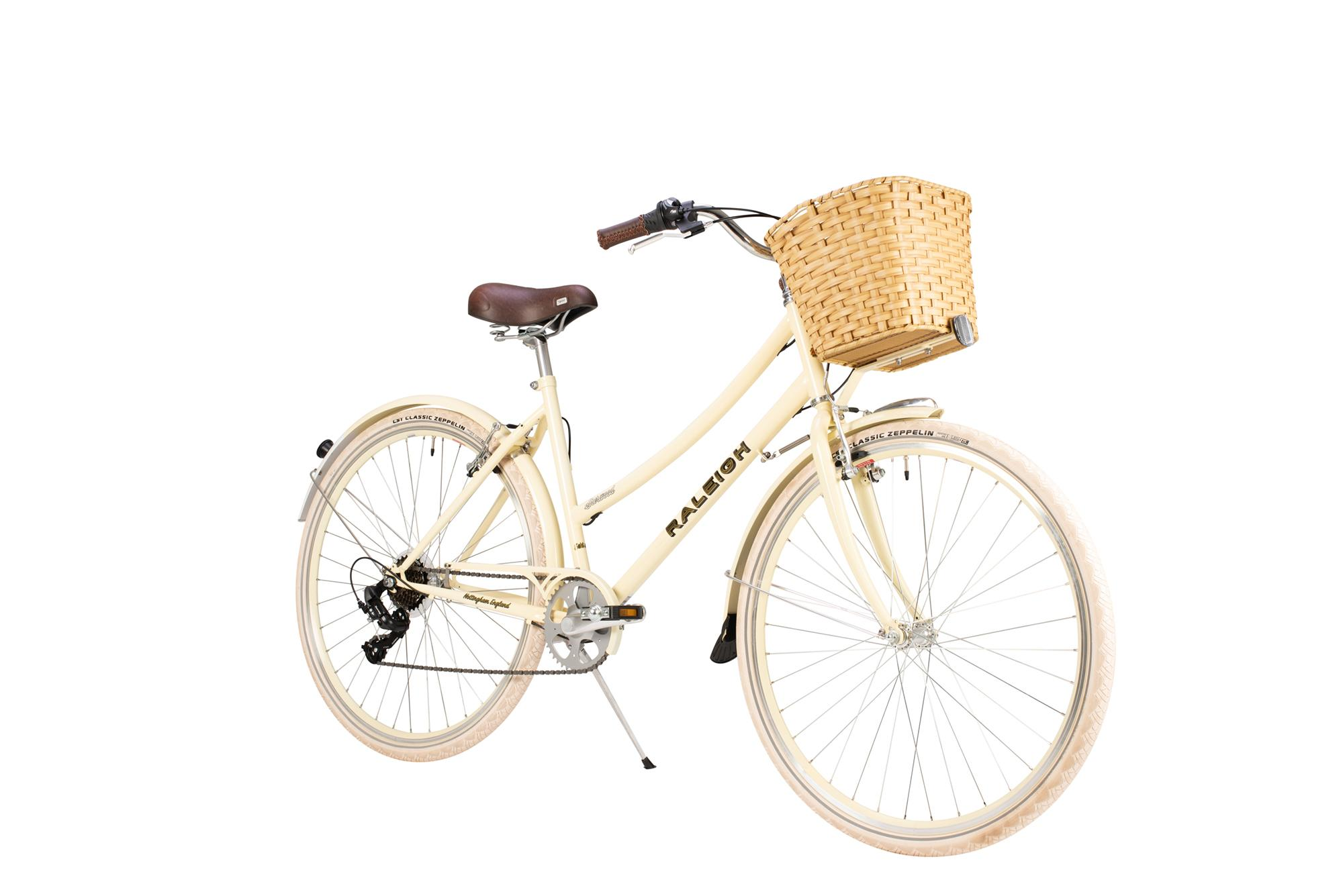 Front view of the Raleigh Sherwood classic ladies bike in milkshake colour