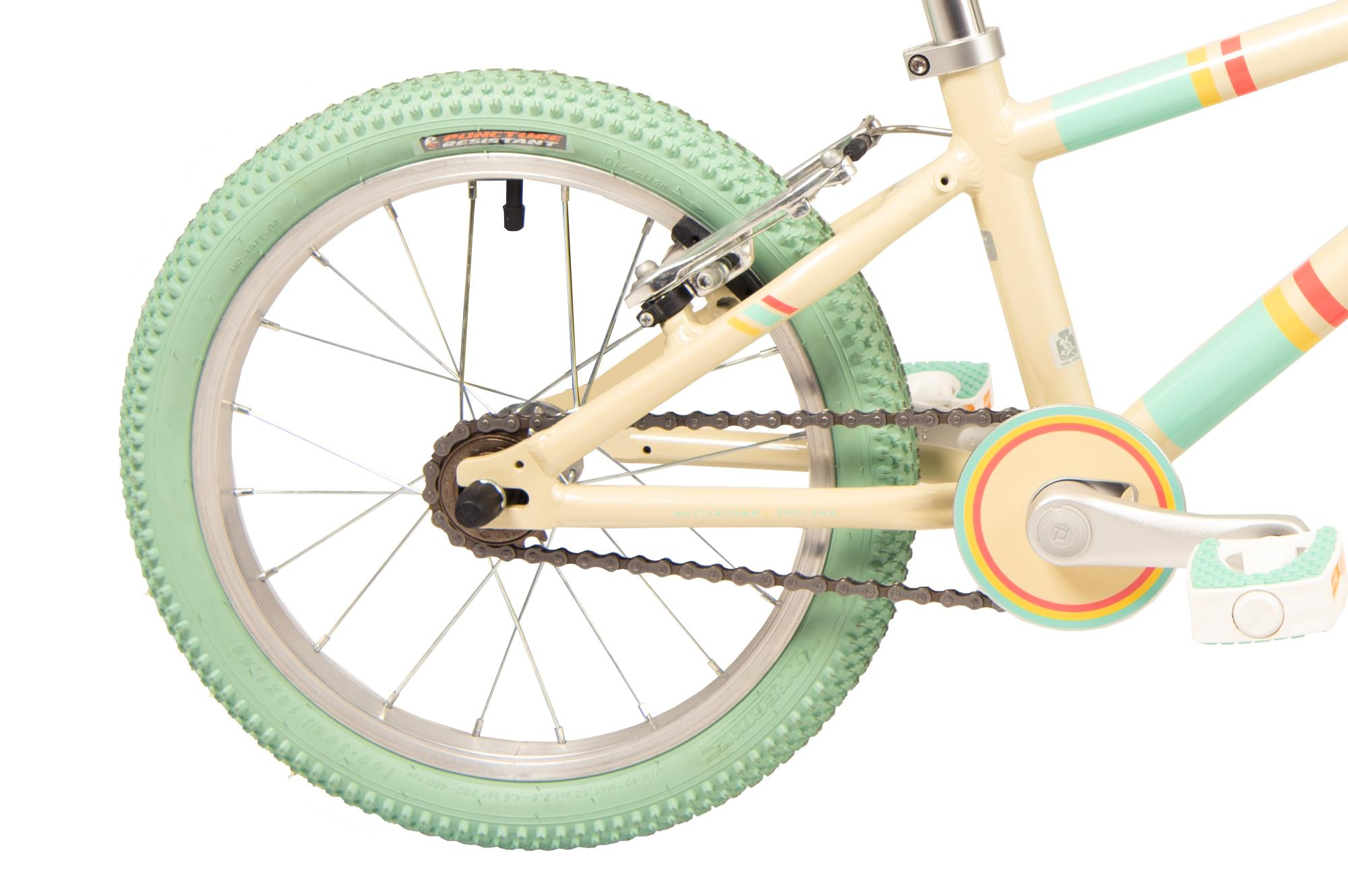 Rear wheel on the Raleigh Pop 16 inch bike in cream colour