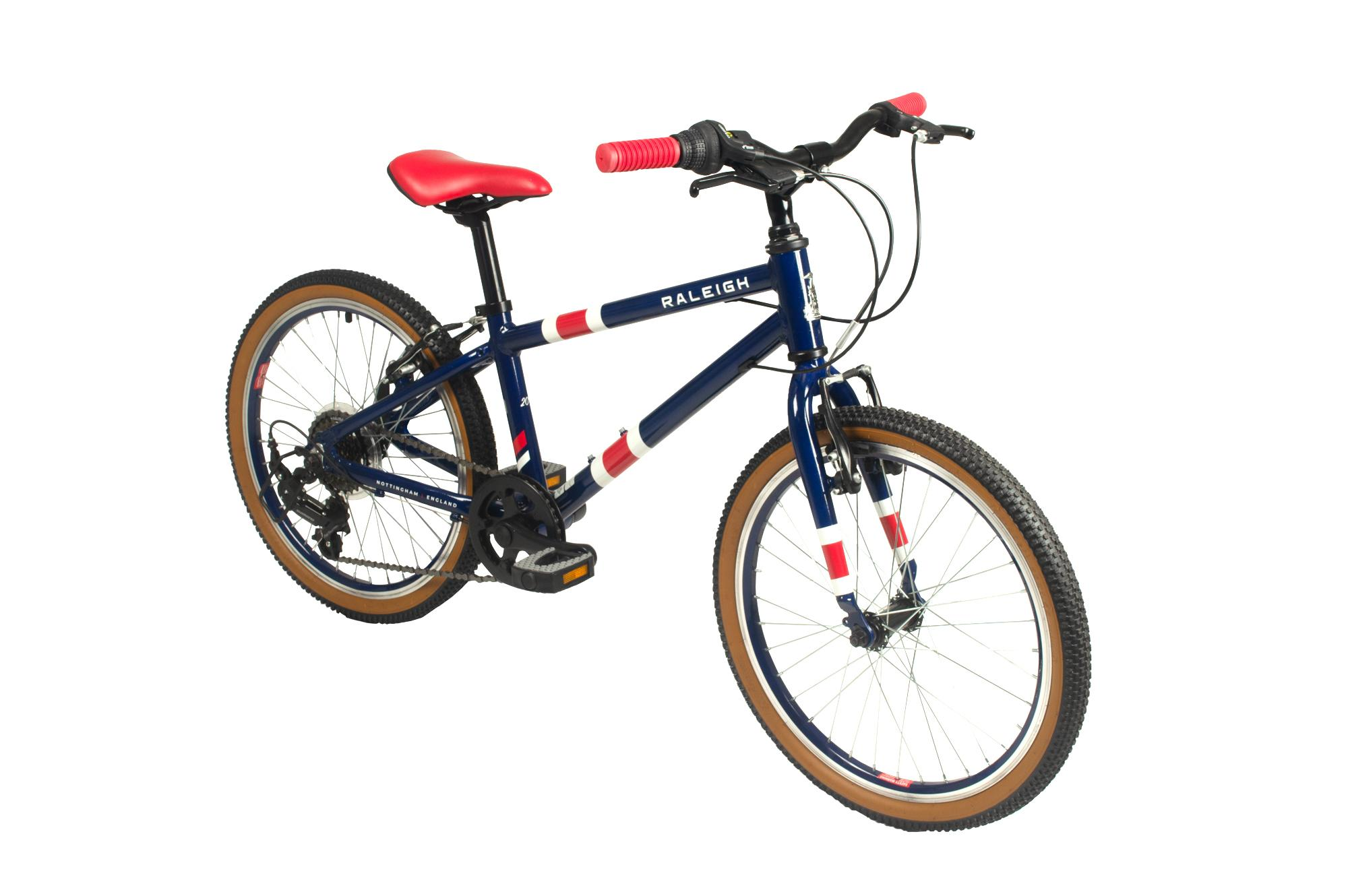Front view of the Raleigh Pop 20 inch kids bike in blue colour
