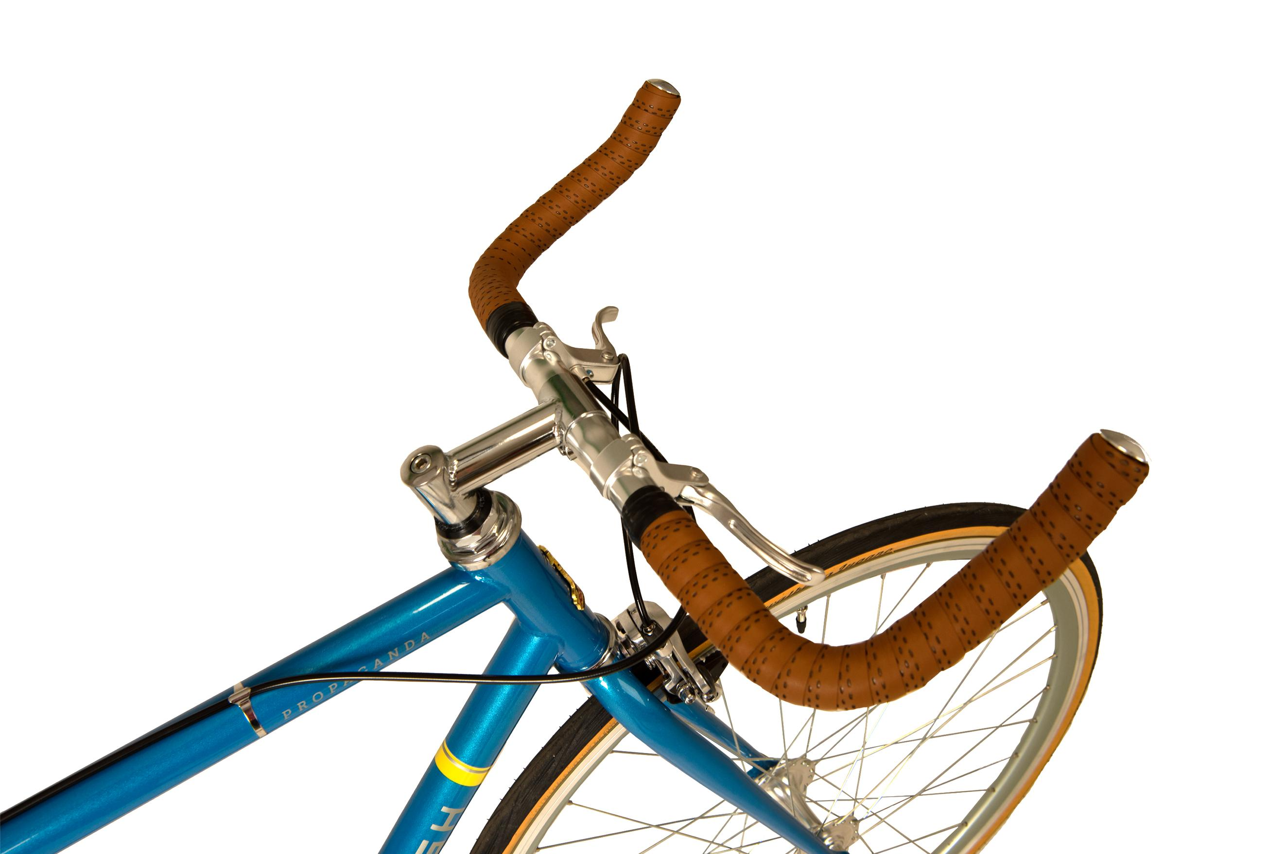 Bullhorn handlebars on the Raleigh Propaganda bike in colour blue