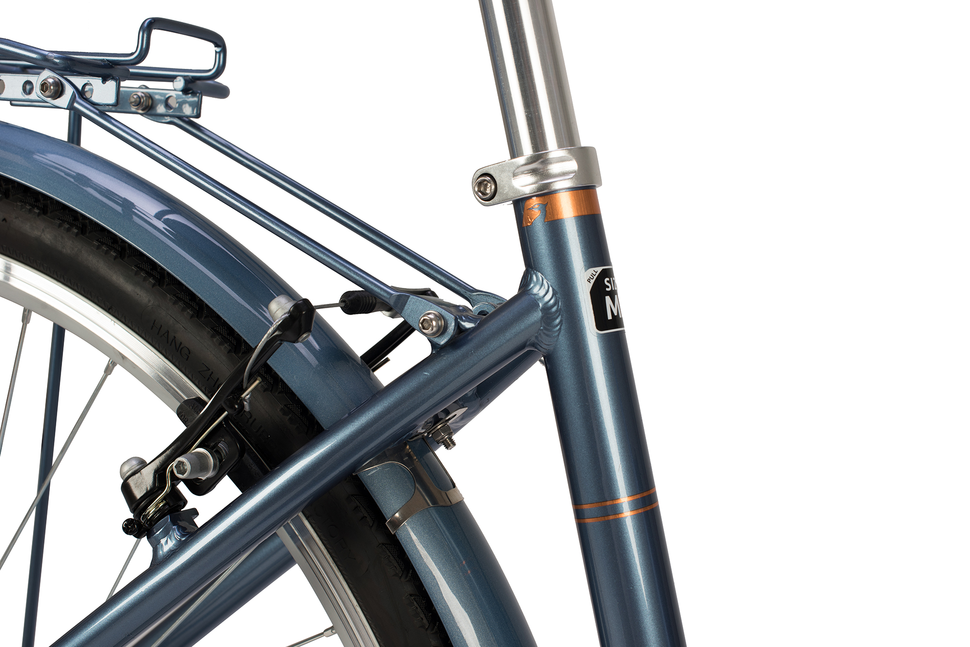 View of the frame and seat post on the Raleigh Pioneer low step bike in grey