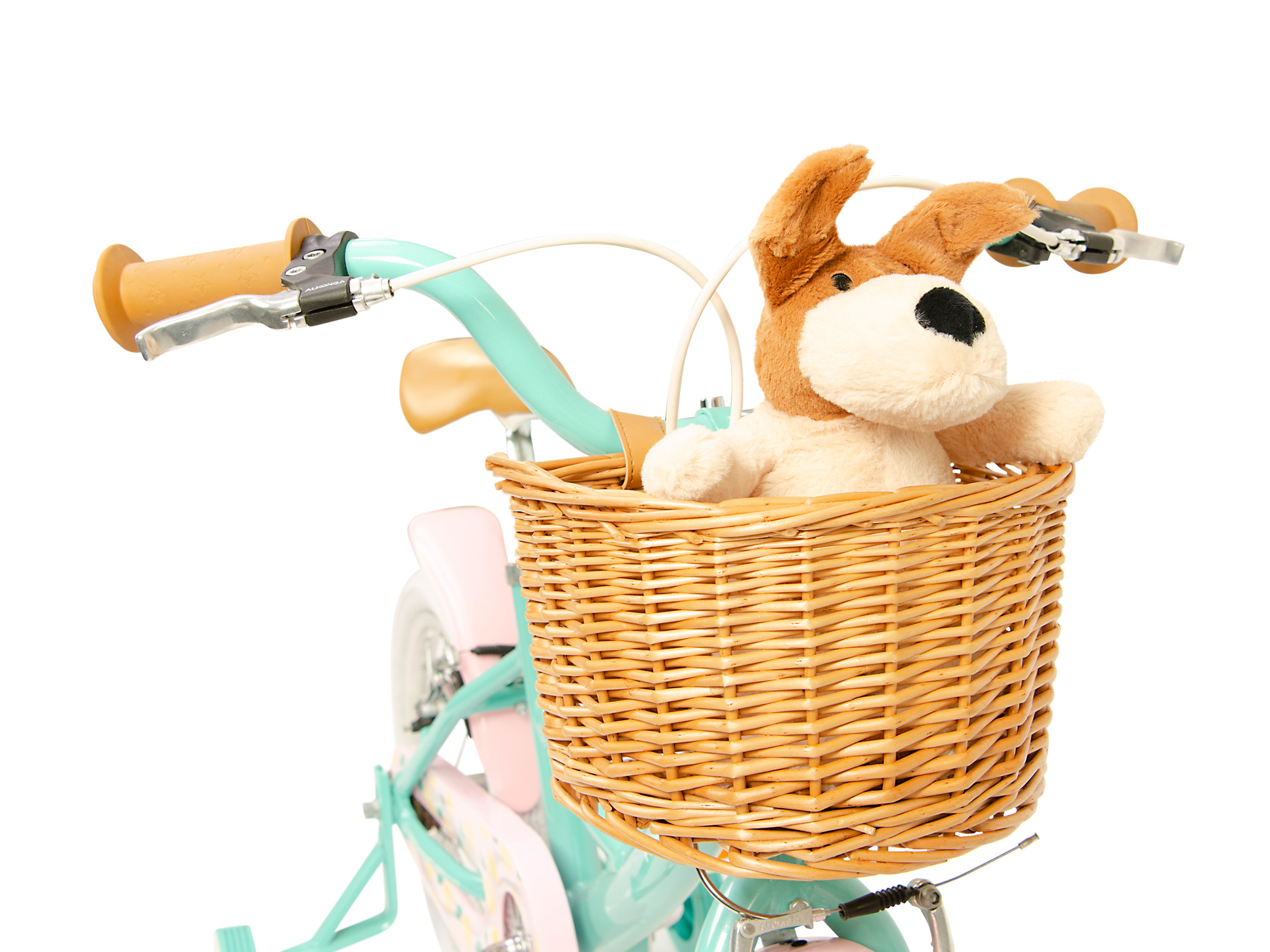 Raleigh Molli green handlebars front with soft toy