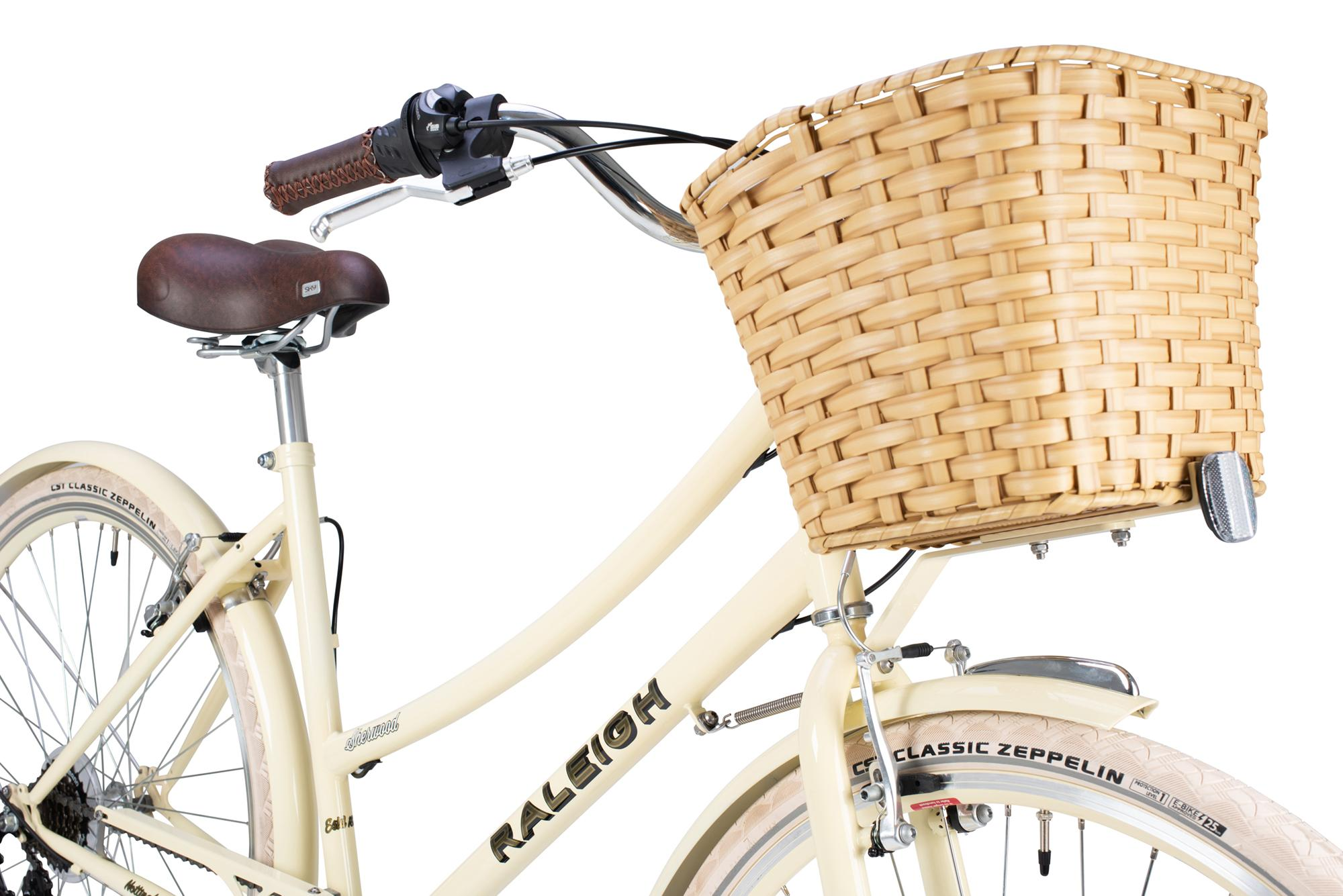Basket on the front of the Raleigh Sherwood classic ladies bike