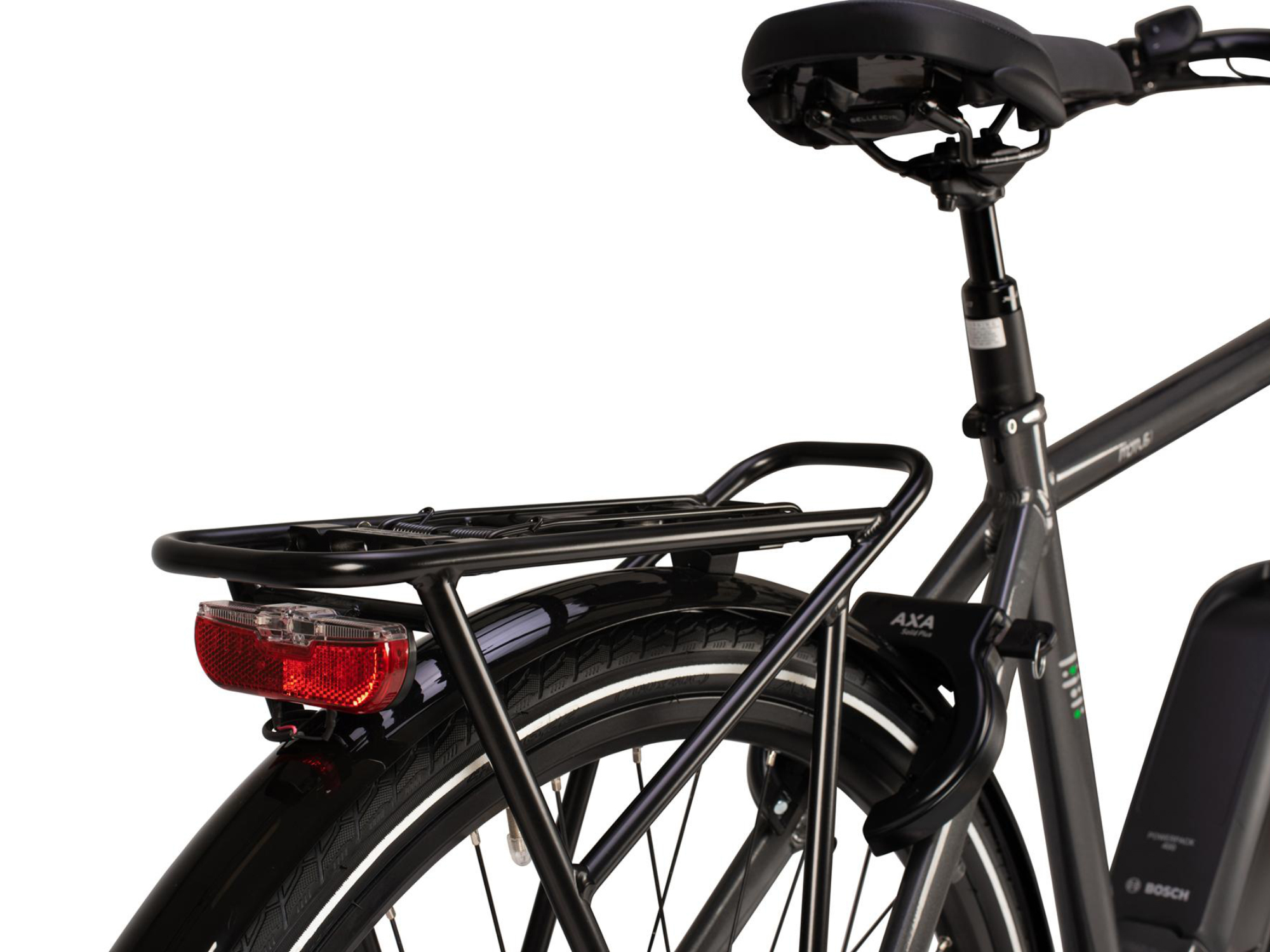 Rear luggage rack on the Raleigh Motus Tour electric bike