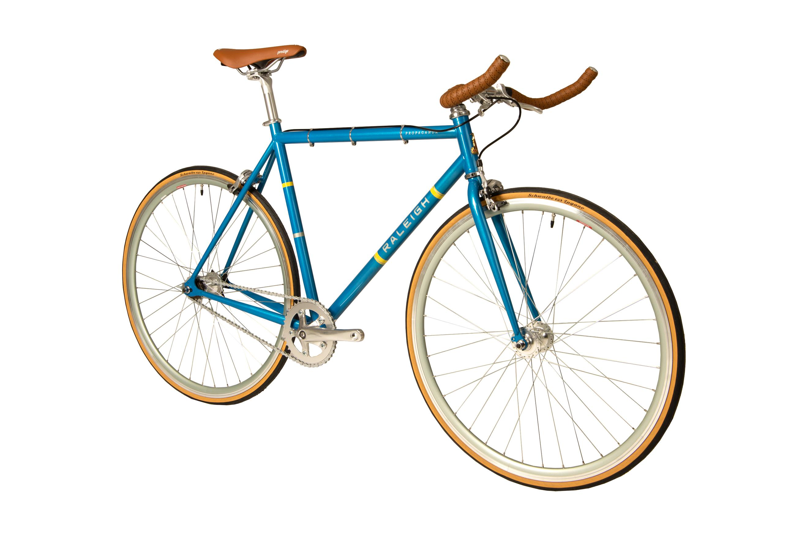 Front view of the Raleigh Propaganda single speed bike in blue  colour
