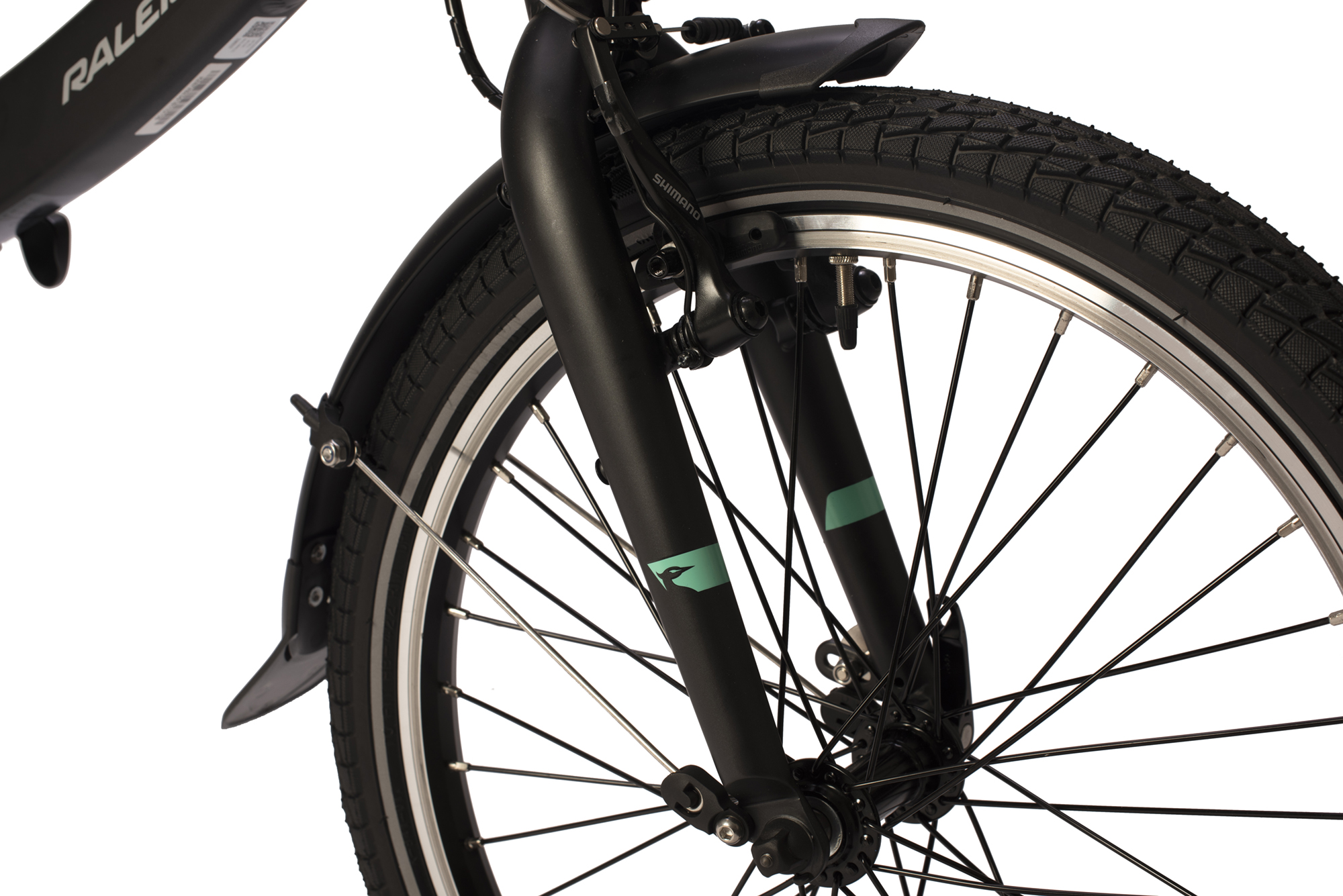 Front wheel on the Raleigh Stow-E-way folding electric bike