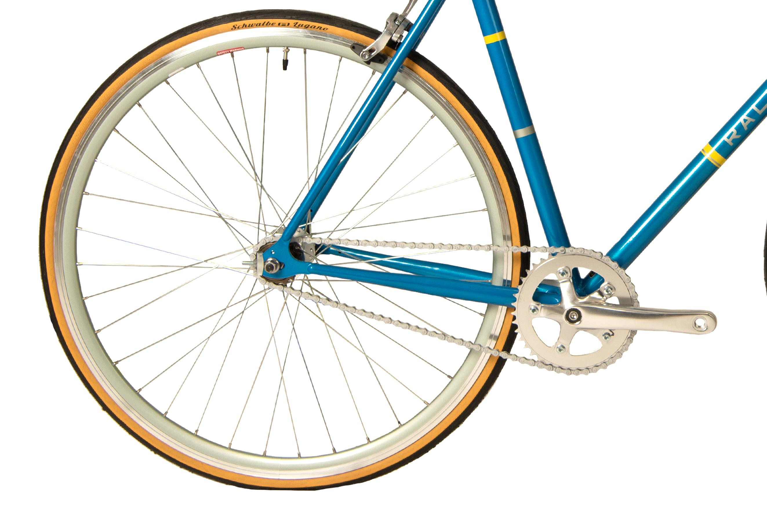 Rear wheel on the Raleigh Propaganda single speed bike