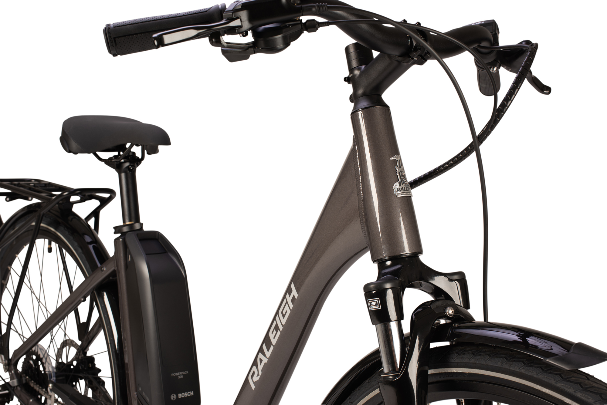Front detail of the Raleigh Motus Low Step electric bike in grey colour
