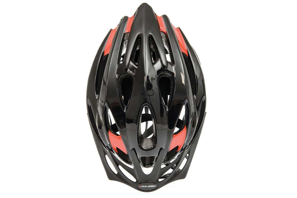 Top view of the Raleigh Mission Evo bike helmet in black and red