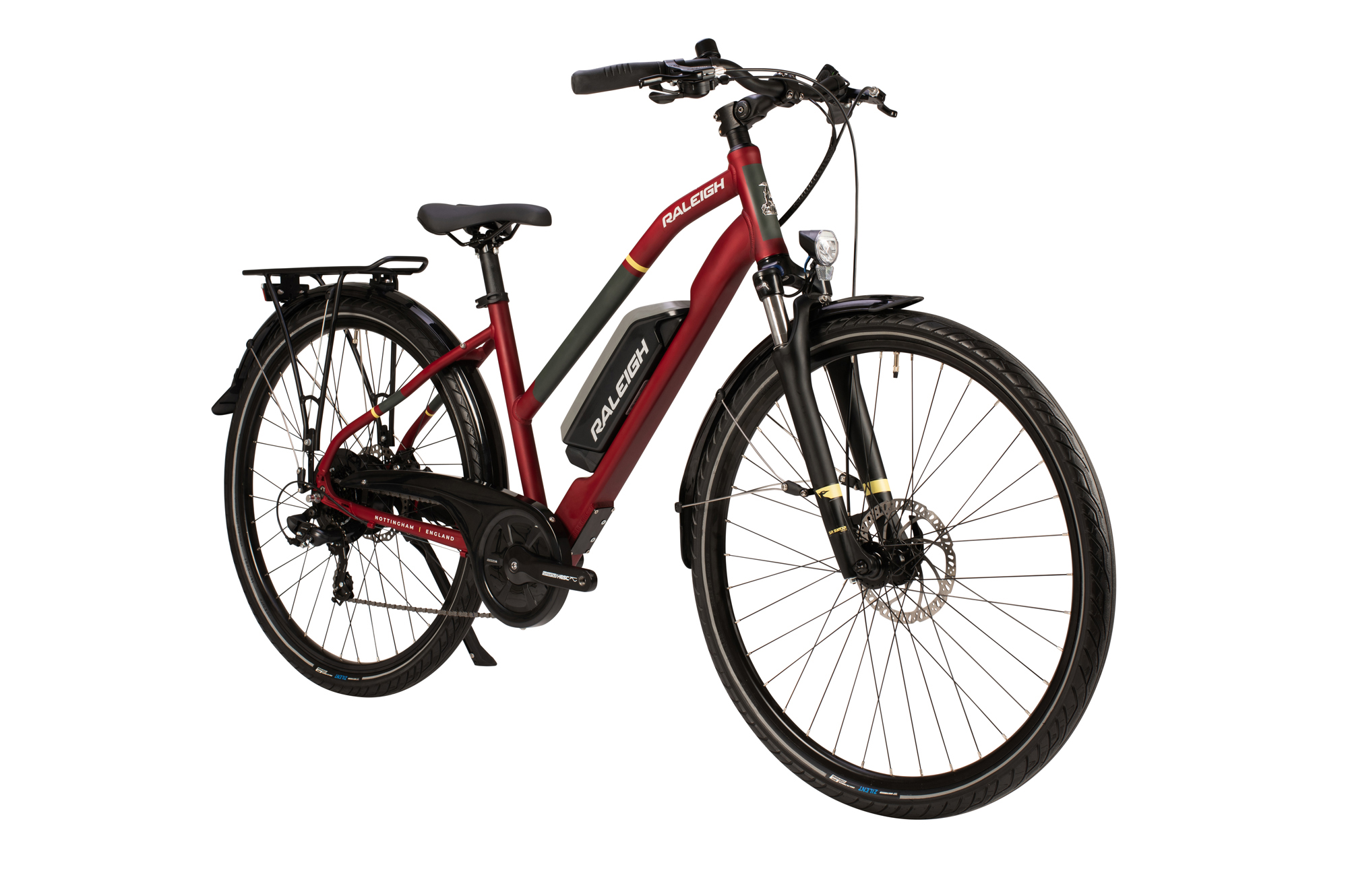 Front view of the Raleigh Array open frame electric bike