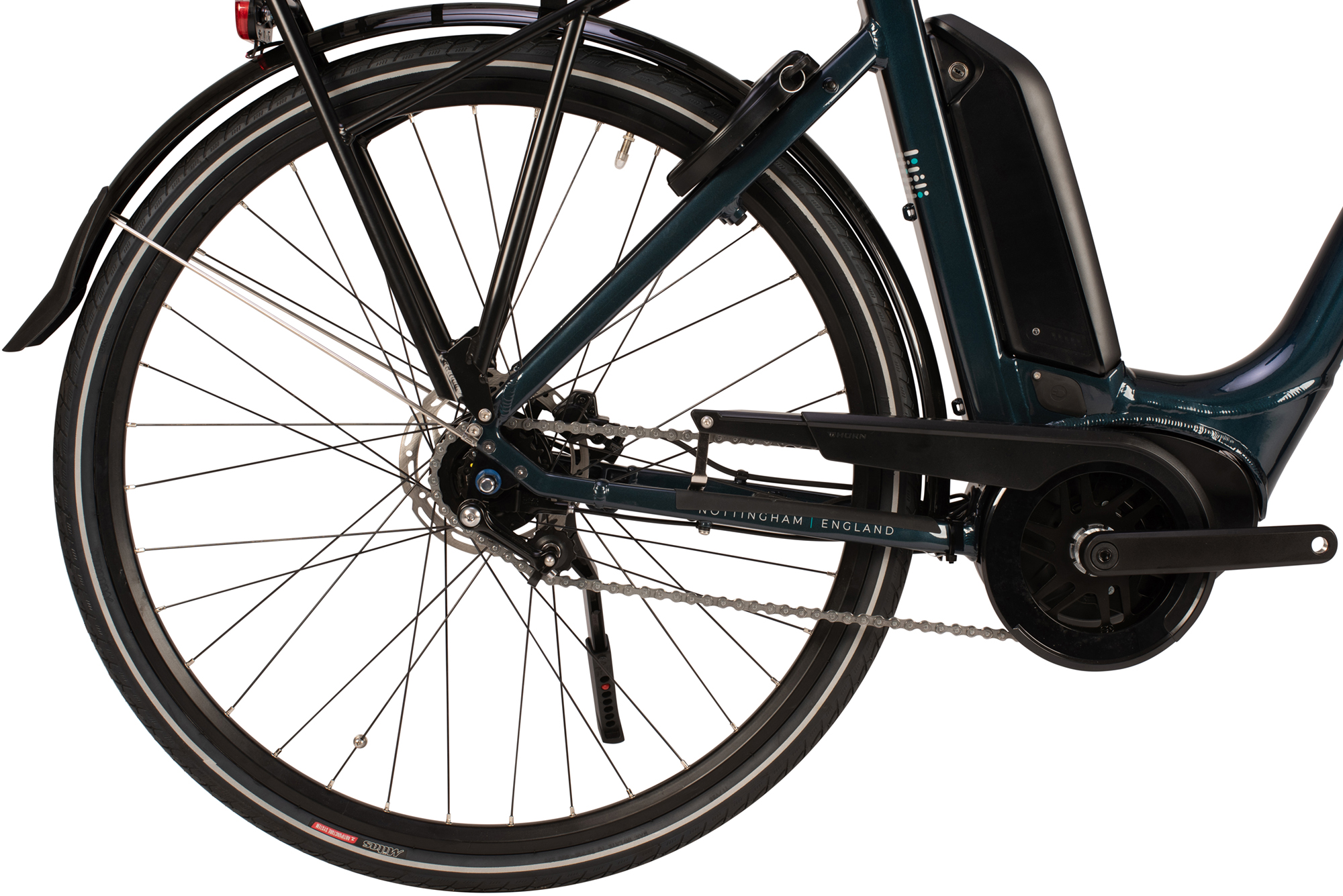 Drivetrain and battery on the Raleigh Motus Grand Tour low step electric bike