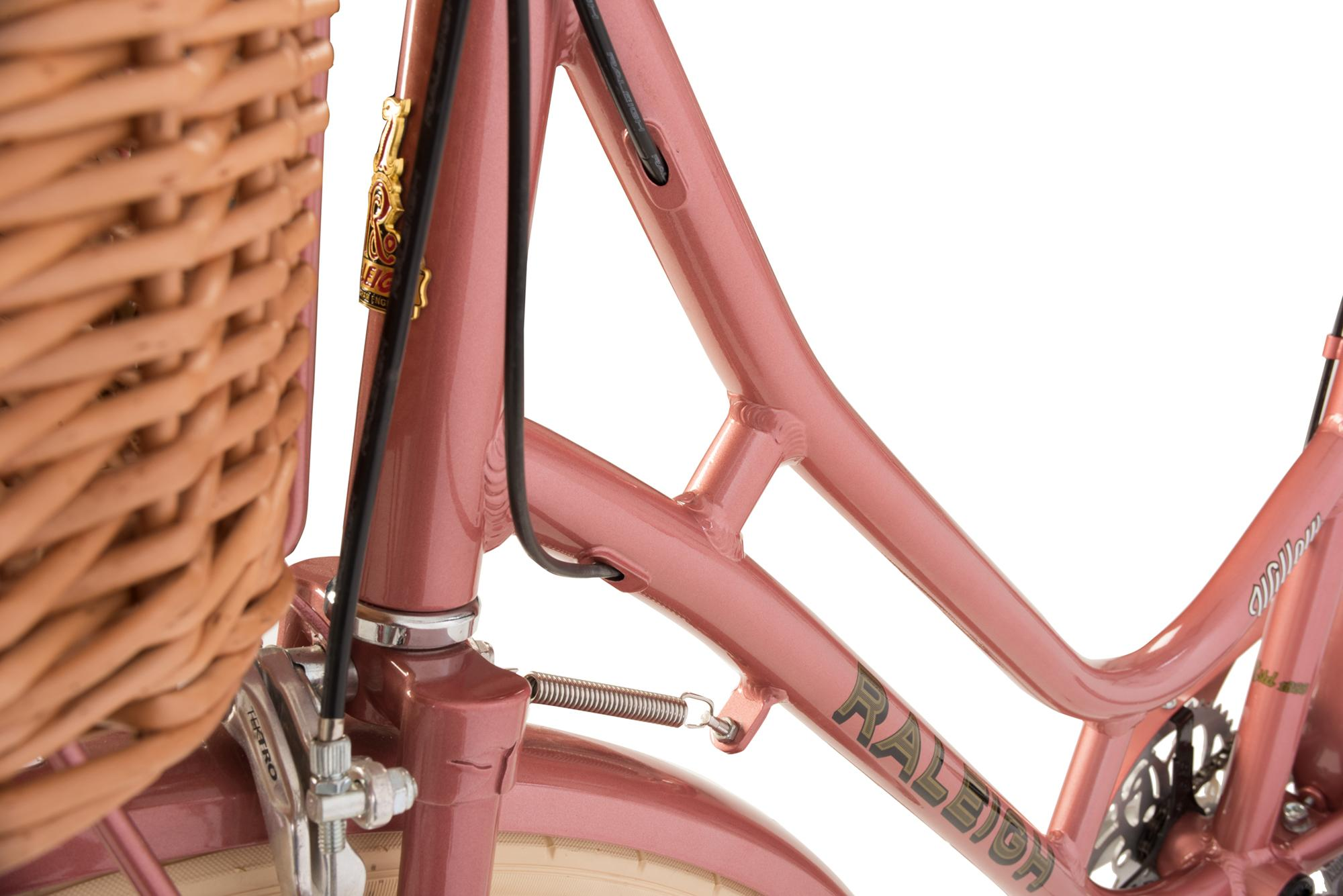 Detail of the front tube of the Raleigh Willow classic ladies bike