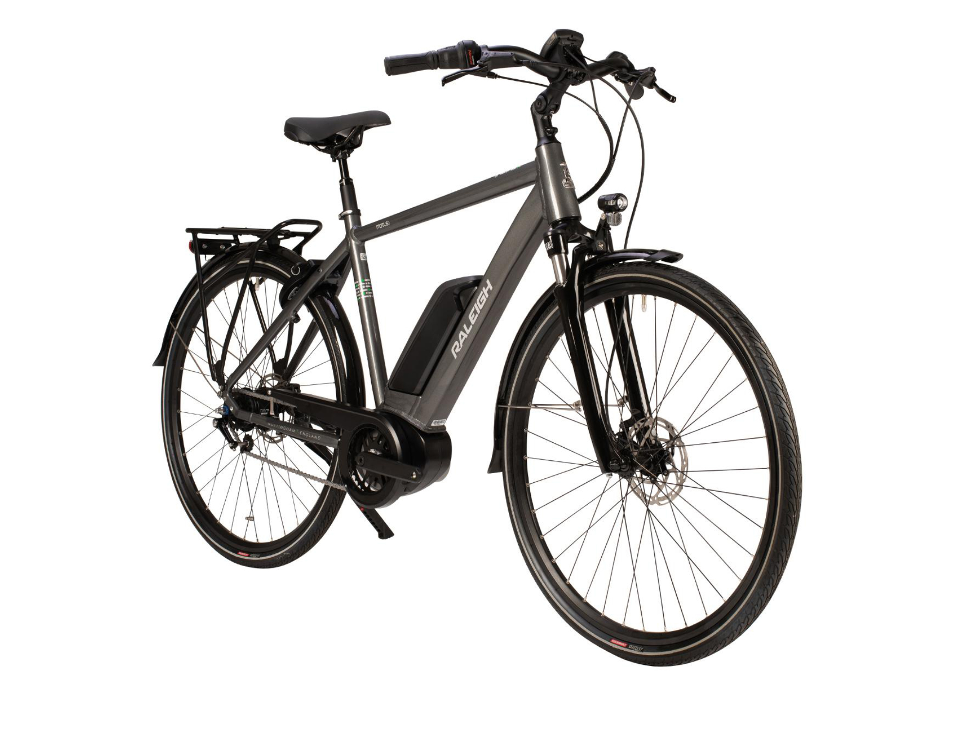Front view of the Raleigh Motus Tour electric bikewith crossbar frame in grey