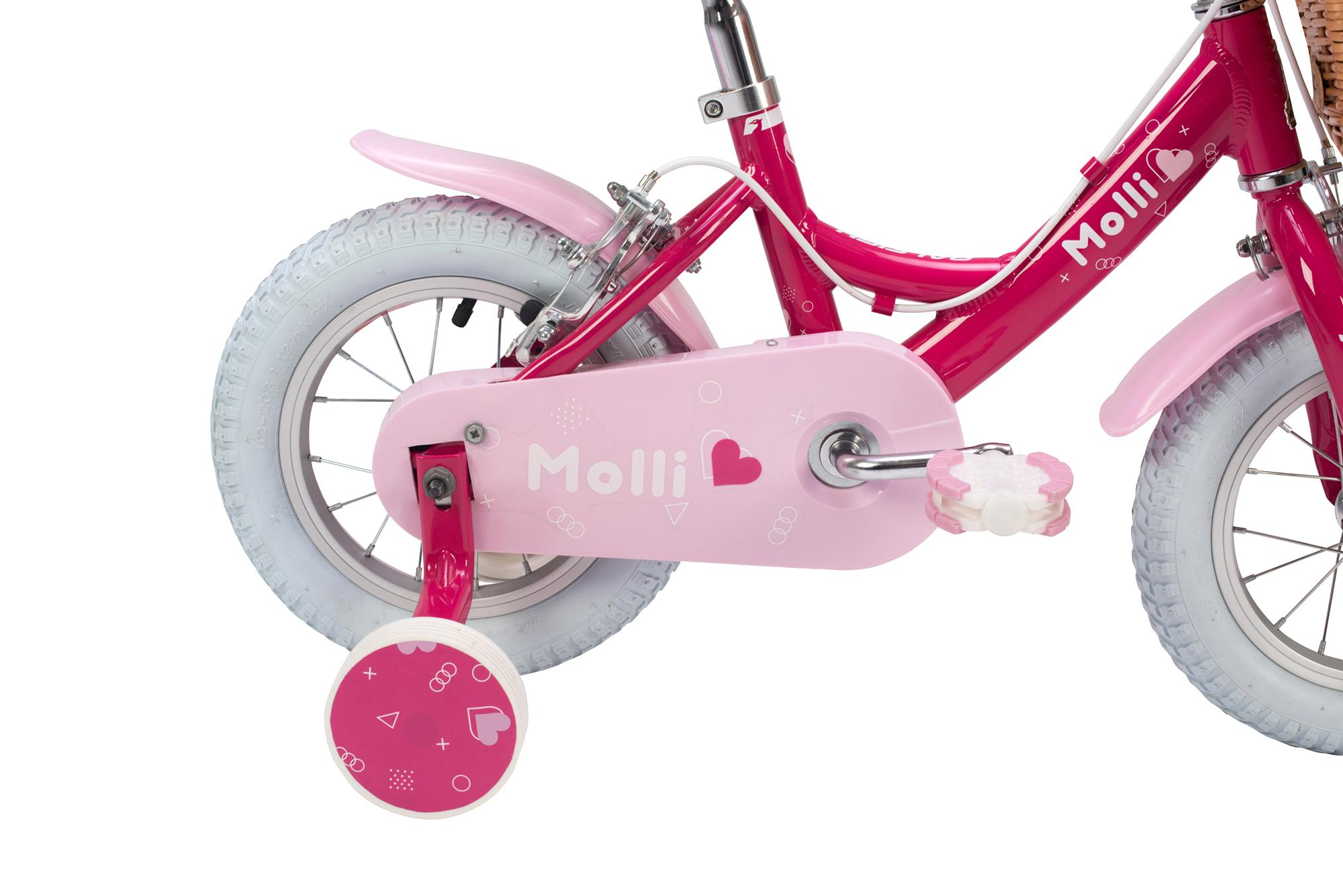 rear view of the Raleigh Molli 12 inch kid girls bike with stabilisers