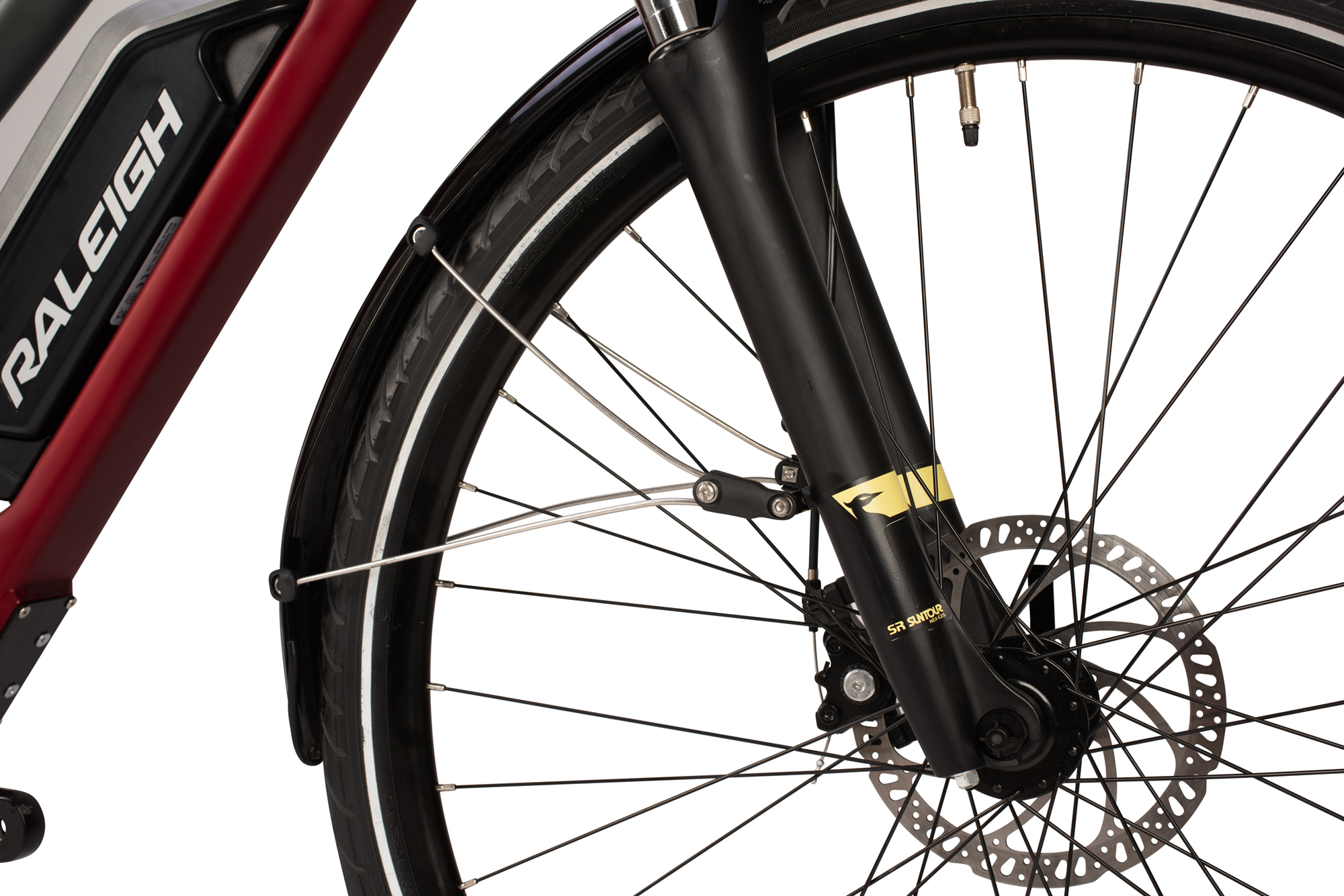 Front suspension forks and disc brake on the Raleigh Array open frame electric bike