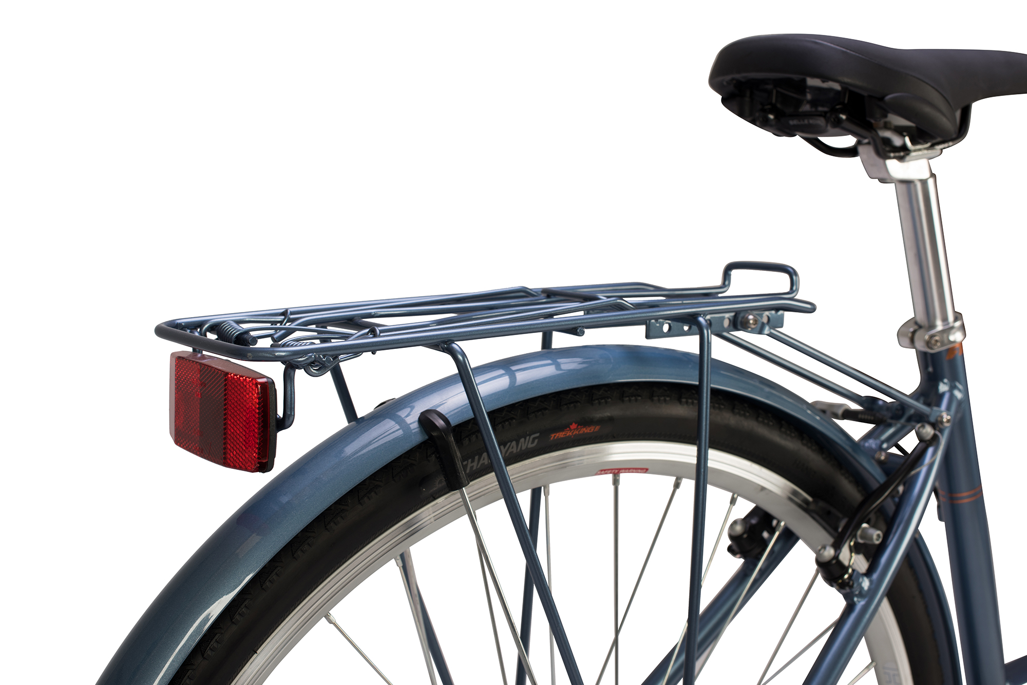 View of the rear luggage rack on the Raleigh Pioneer low step bike in grey