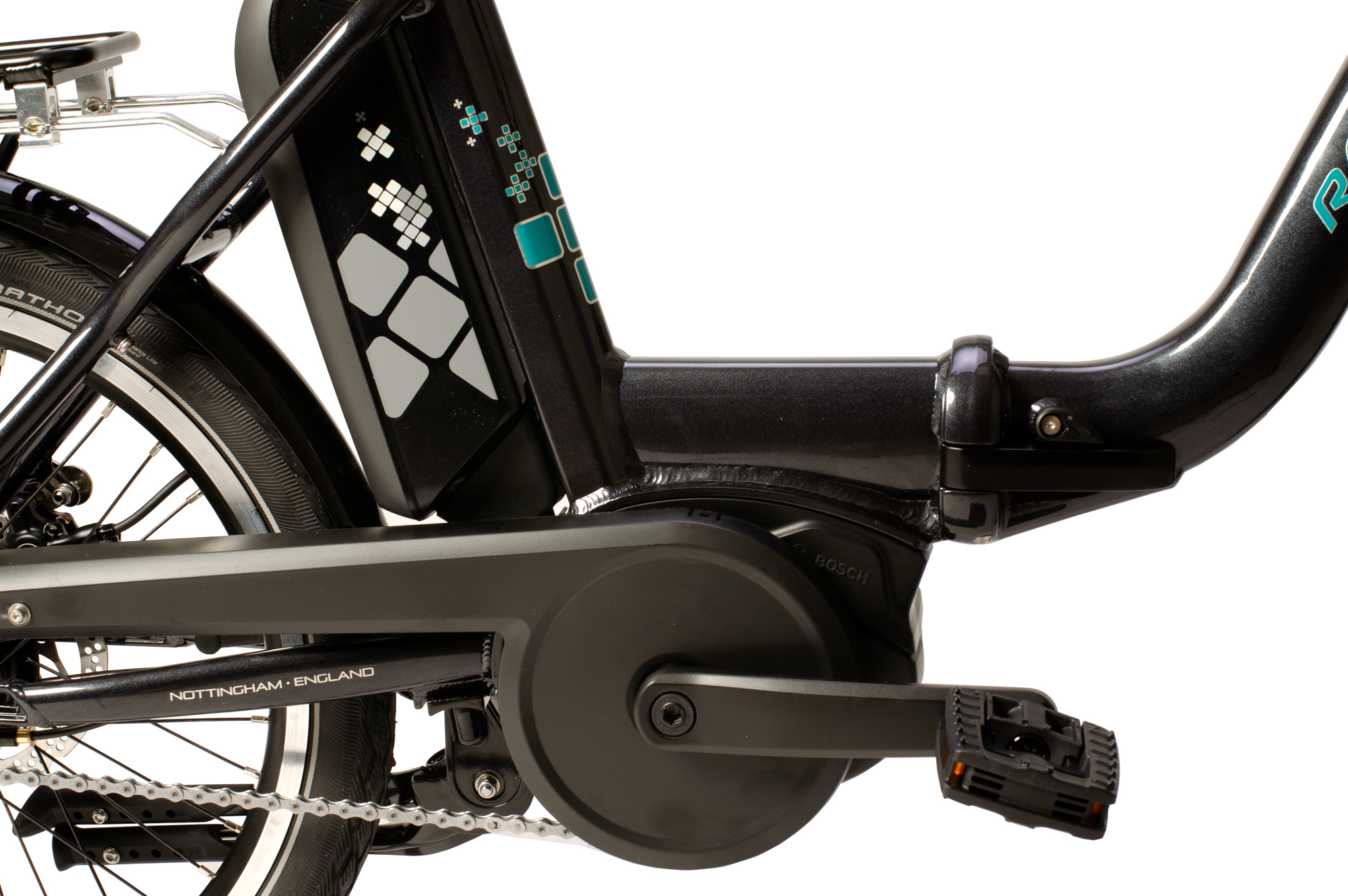 Detail view of battery and crank on the Raleigh Kompact electric folding bike
