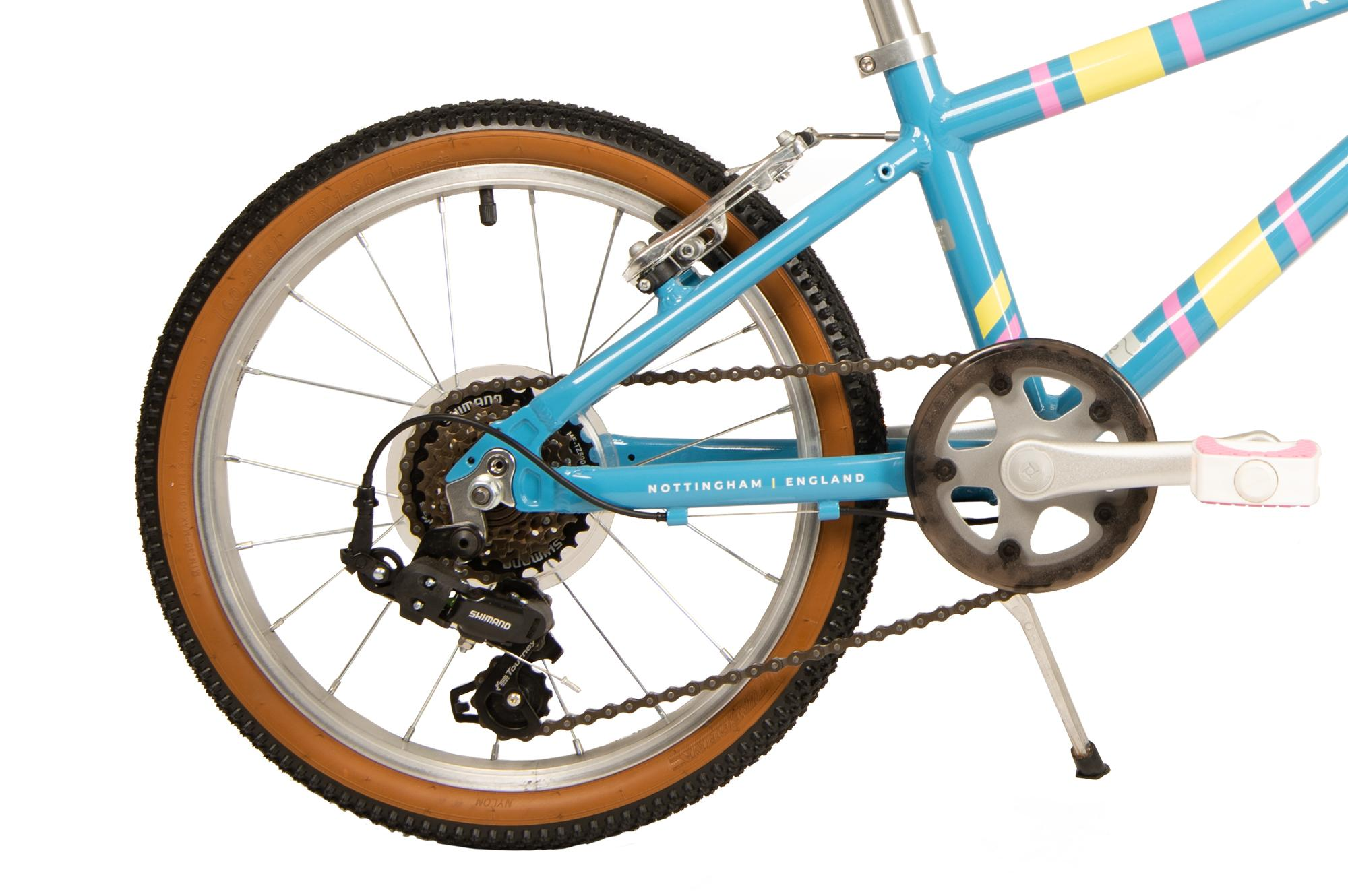 Rear wheel and drivetrain on the Raleigh Pop 18 inch kids bike in light blue colour