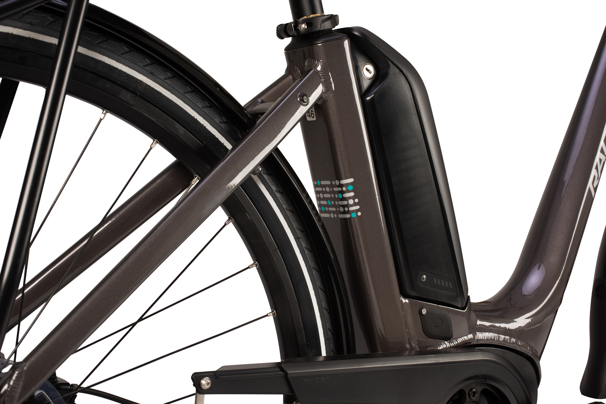 Battery on the Raleigh Motus electric bike in grey colour