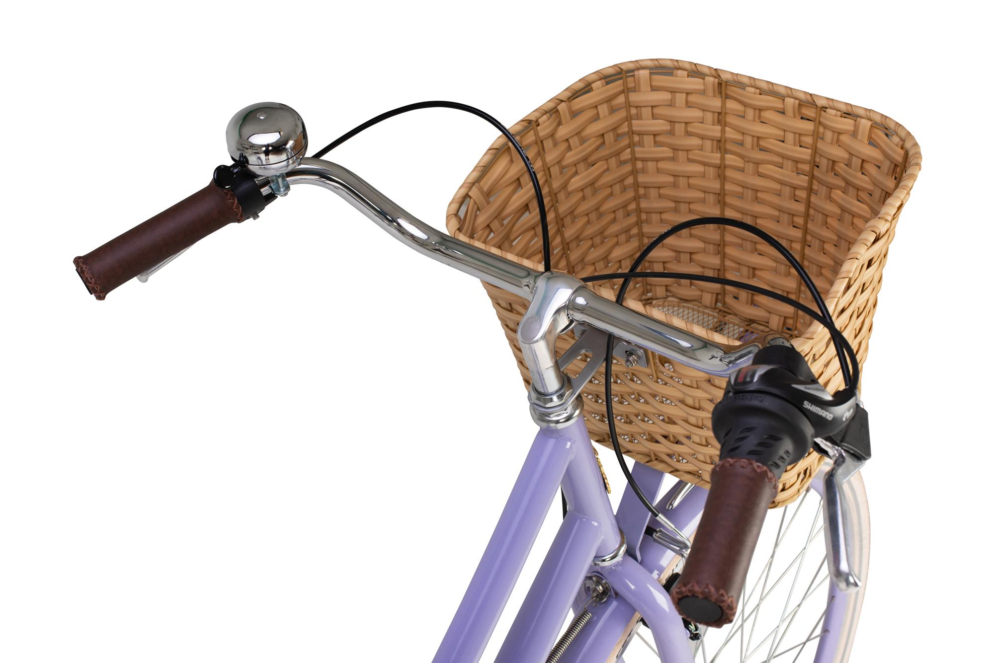 Handlebars and basket on the Raleigh Sherwood classic ladies bike in lilac